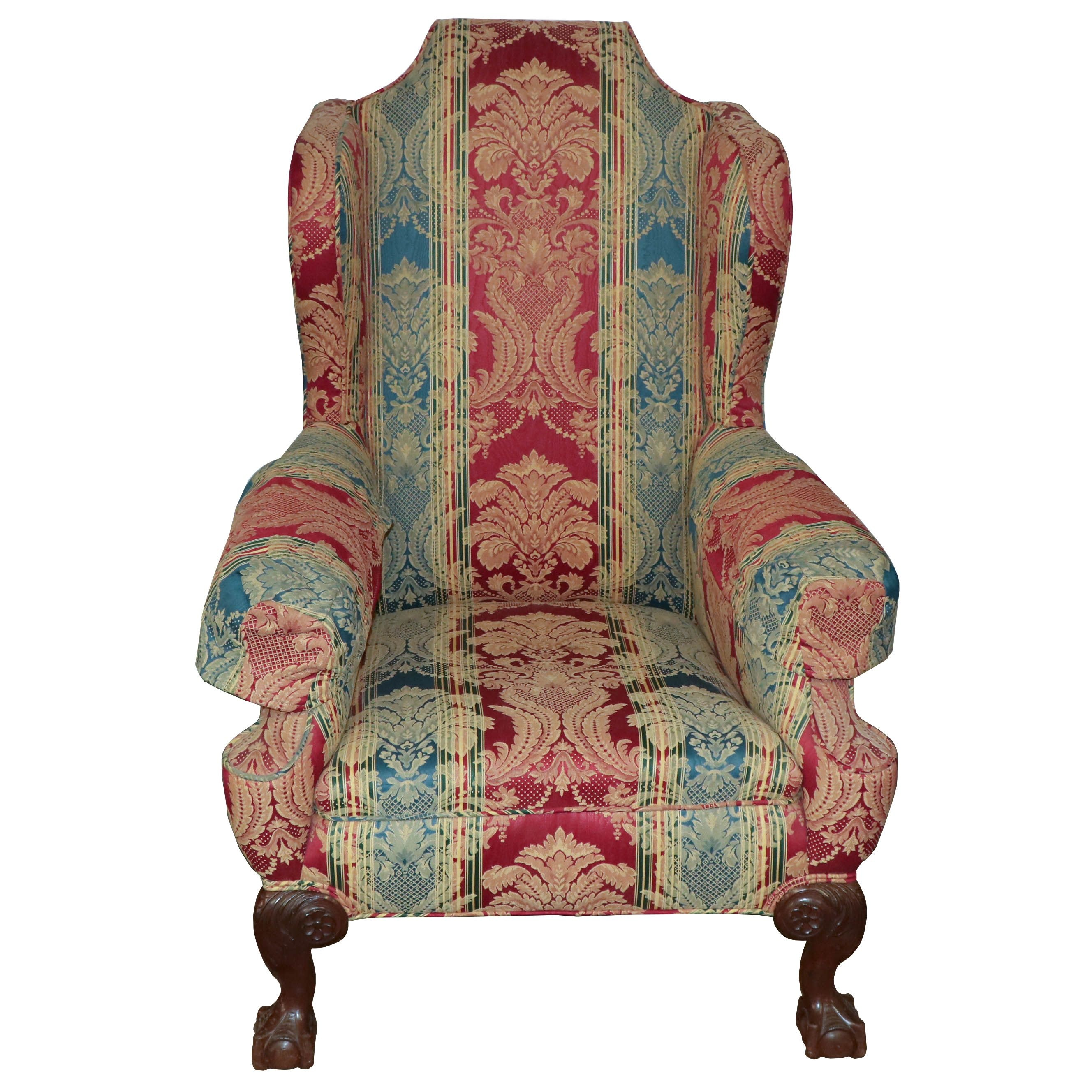 Chippendale Style Upholstered Wingback Armchair, Mid 20th Century
