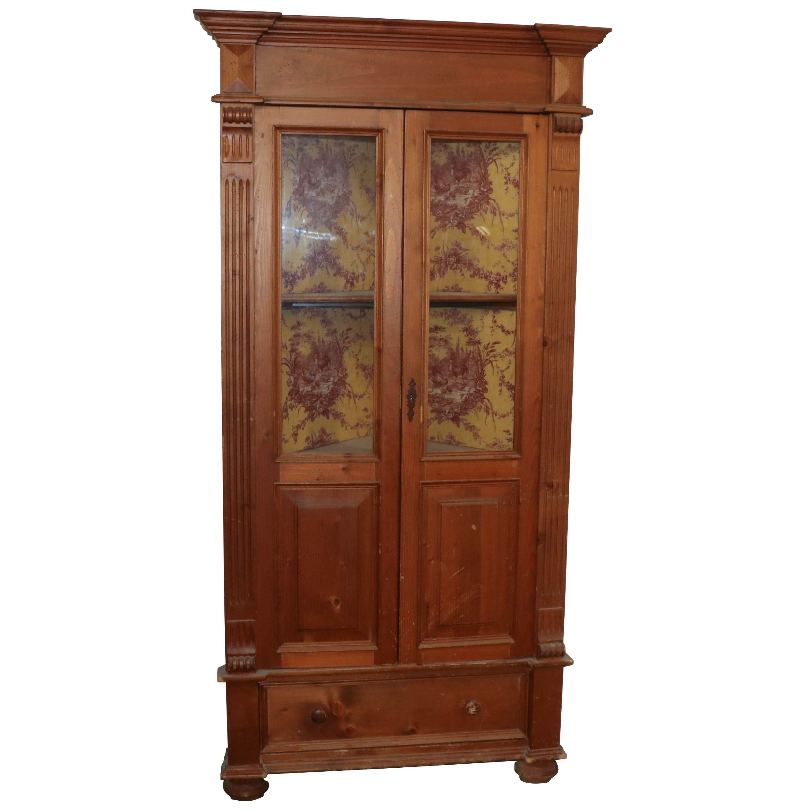 Pine Corner China Cabinet, Mid 20th Century