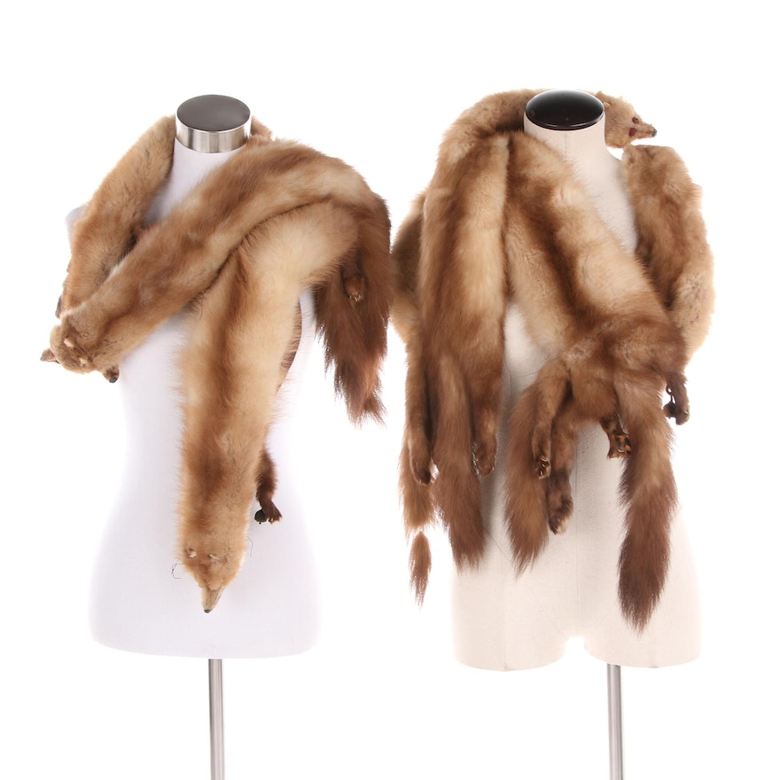 Vintage Three Pelt and Four Pelt Marten Fur Stoles