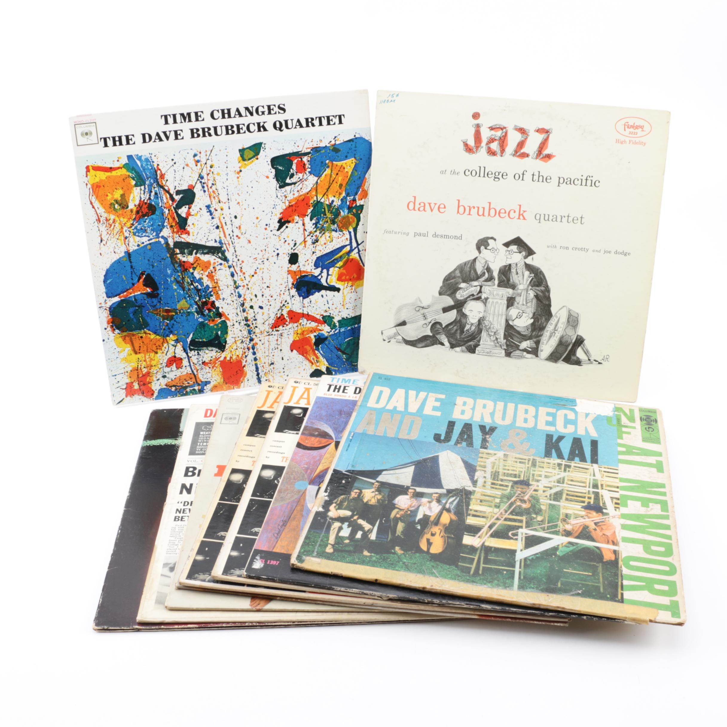 """The Dave Brubeck Quartet Vinyl Records including """"Time Changes"""" and """"Time Out"""""""
