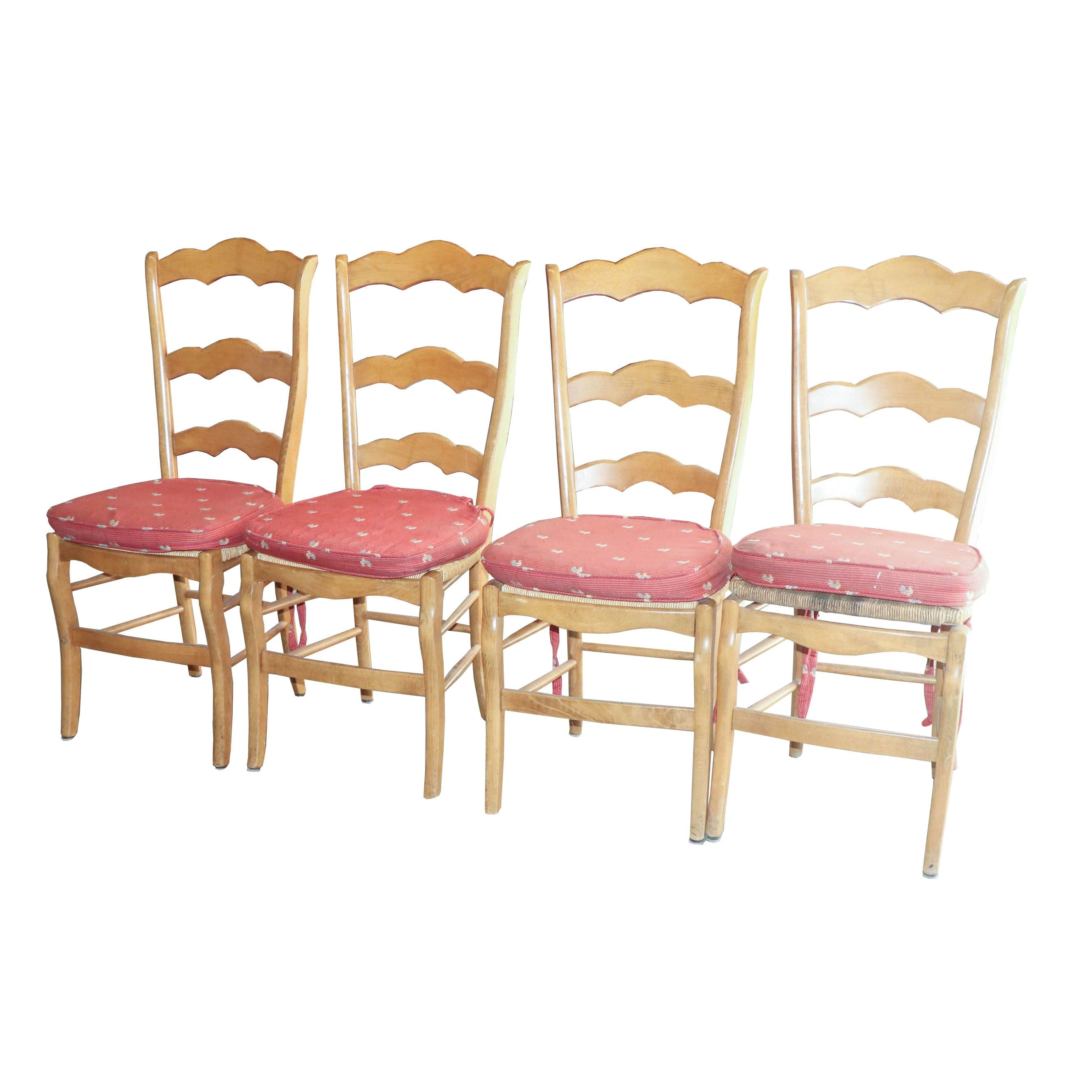 Four Ladder Back Chairs with Rush Seats, 20th Century