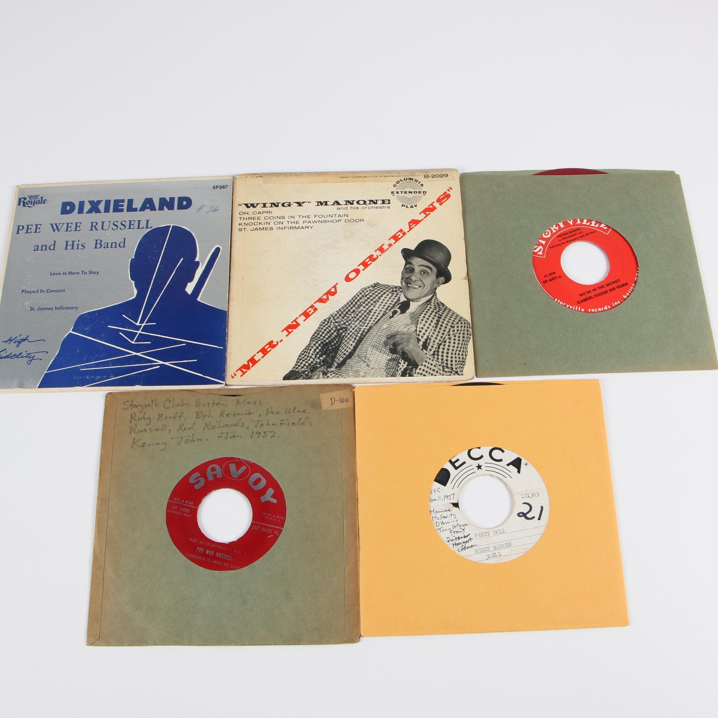Jazz and Dixieland 45 RPM Vinyl Records including Pee Wee Russell