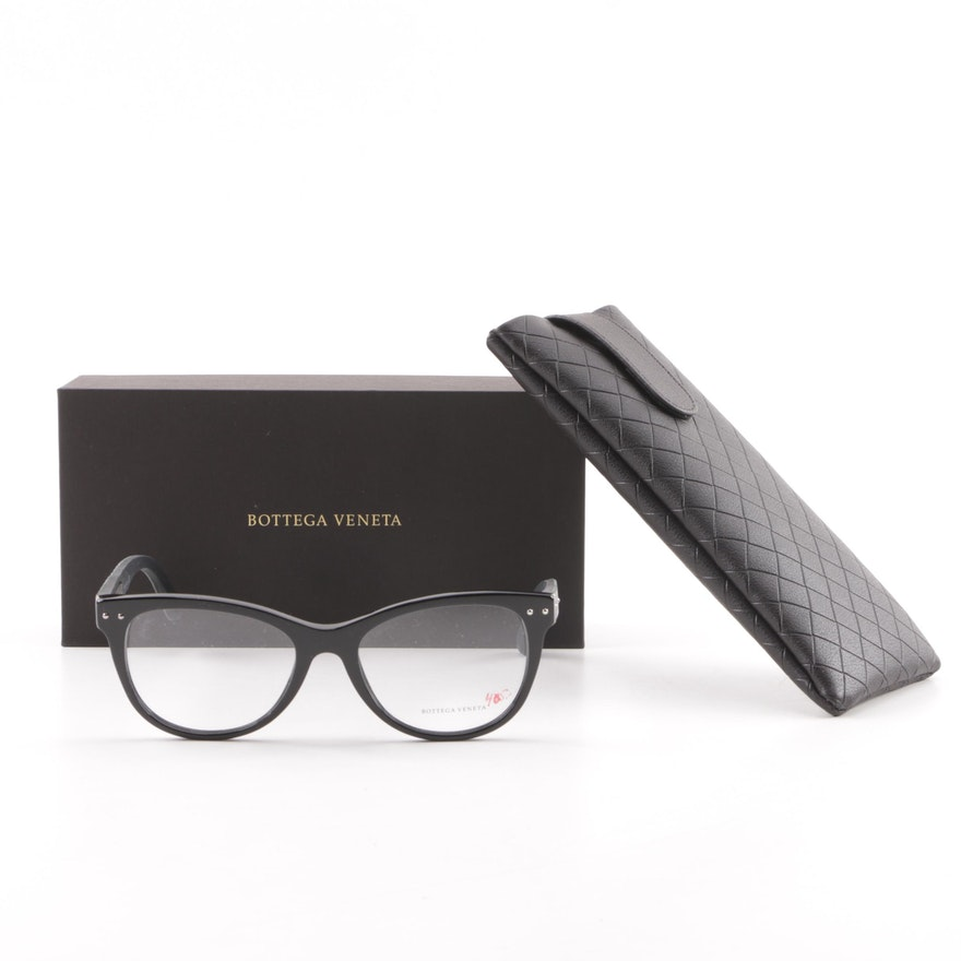12ffcb1428f Bottega Veneta Black Leather Framed Eyeglasses   EBTH