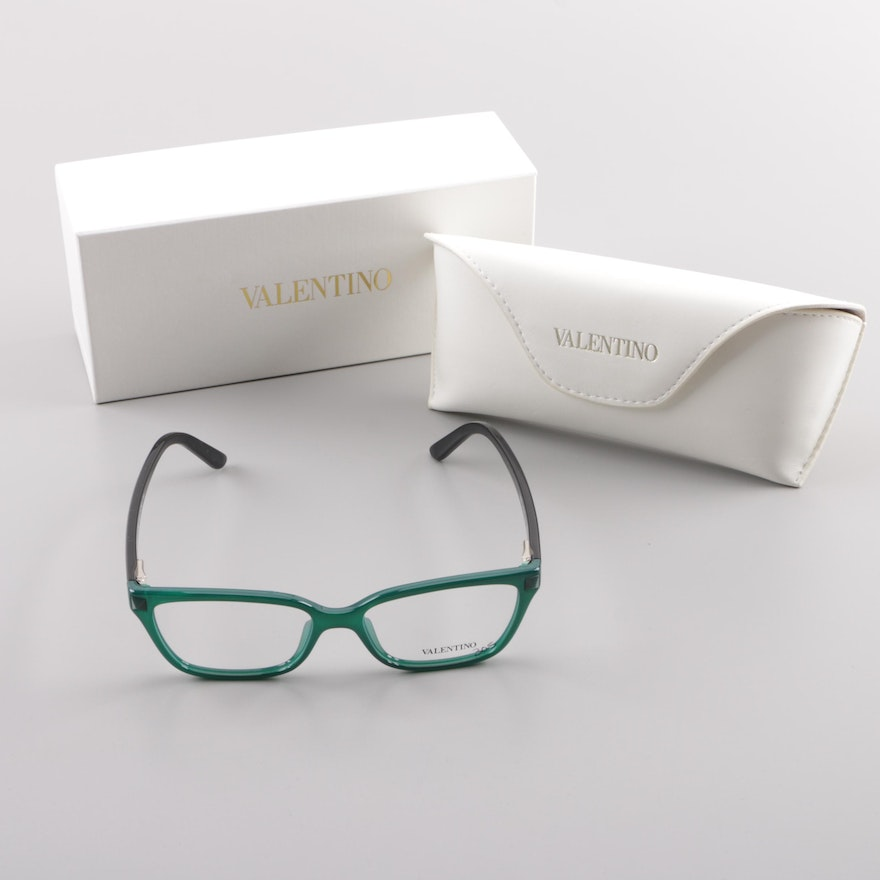 0bed19fc2543 Valentino Green and Black Framed Eyeglasses : EBTH