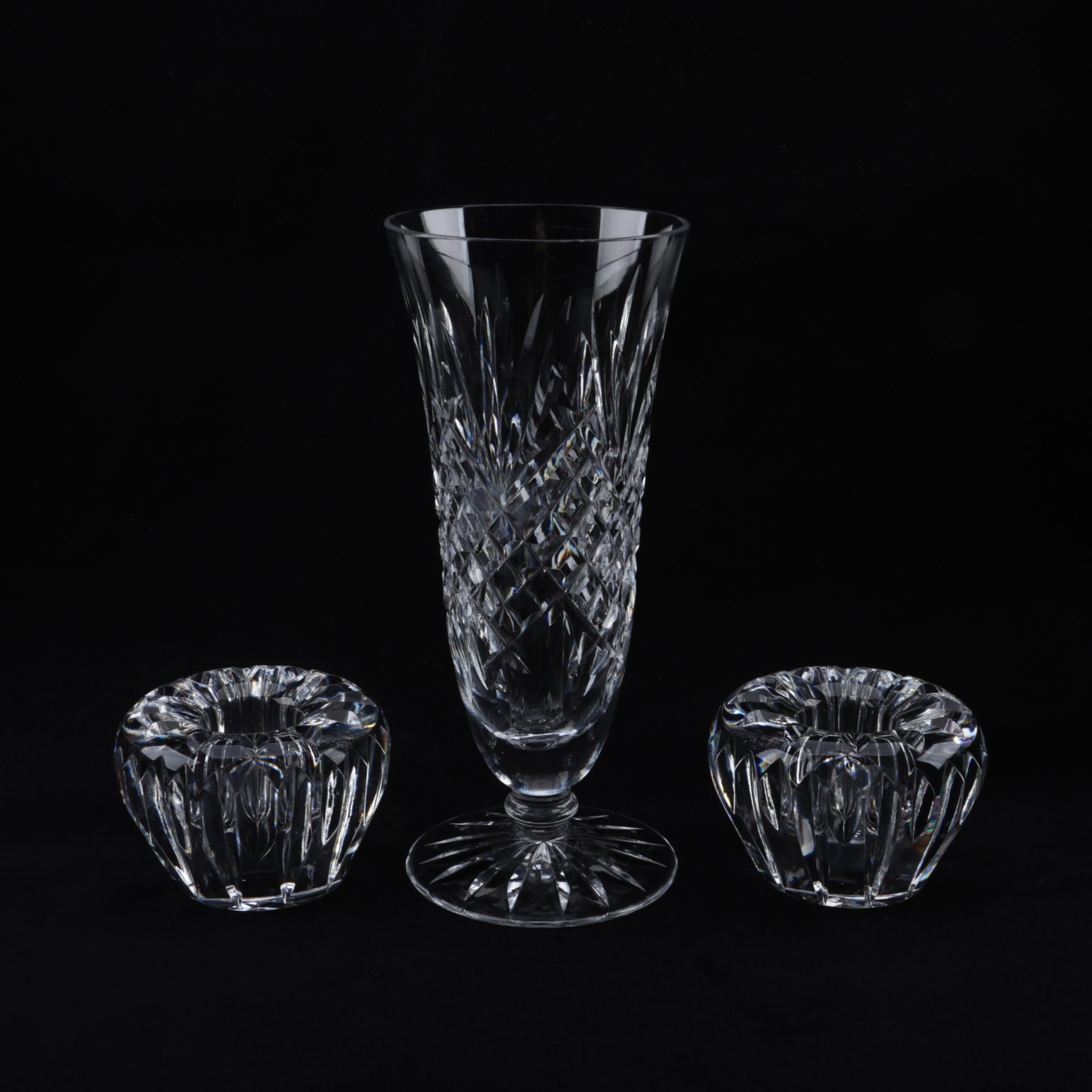 """Waterford Crystal """"Killarney"""" Vase and Candleholders"""