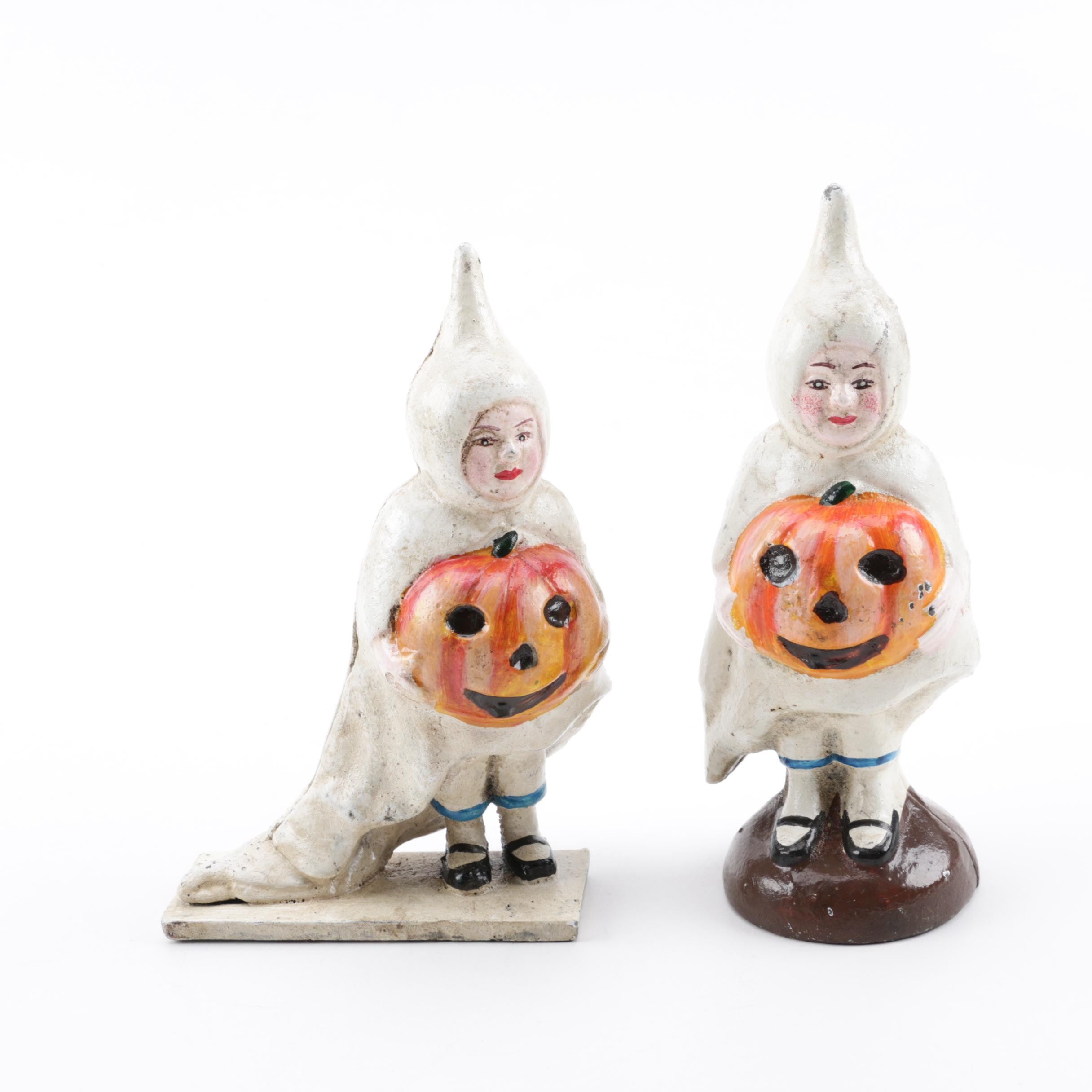 Halloween-Themed Hand-Painted Cast Iron Banks