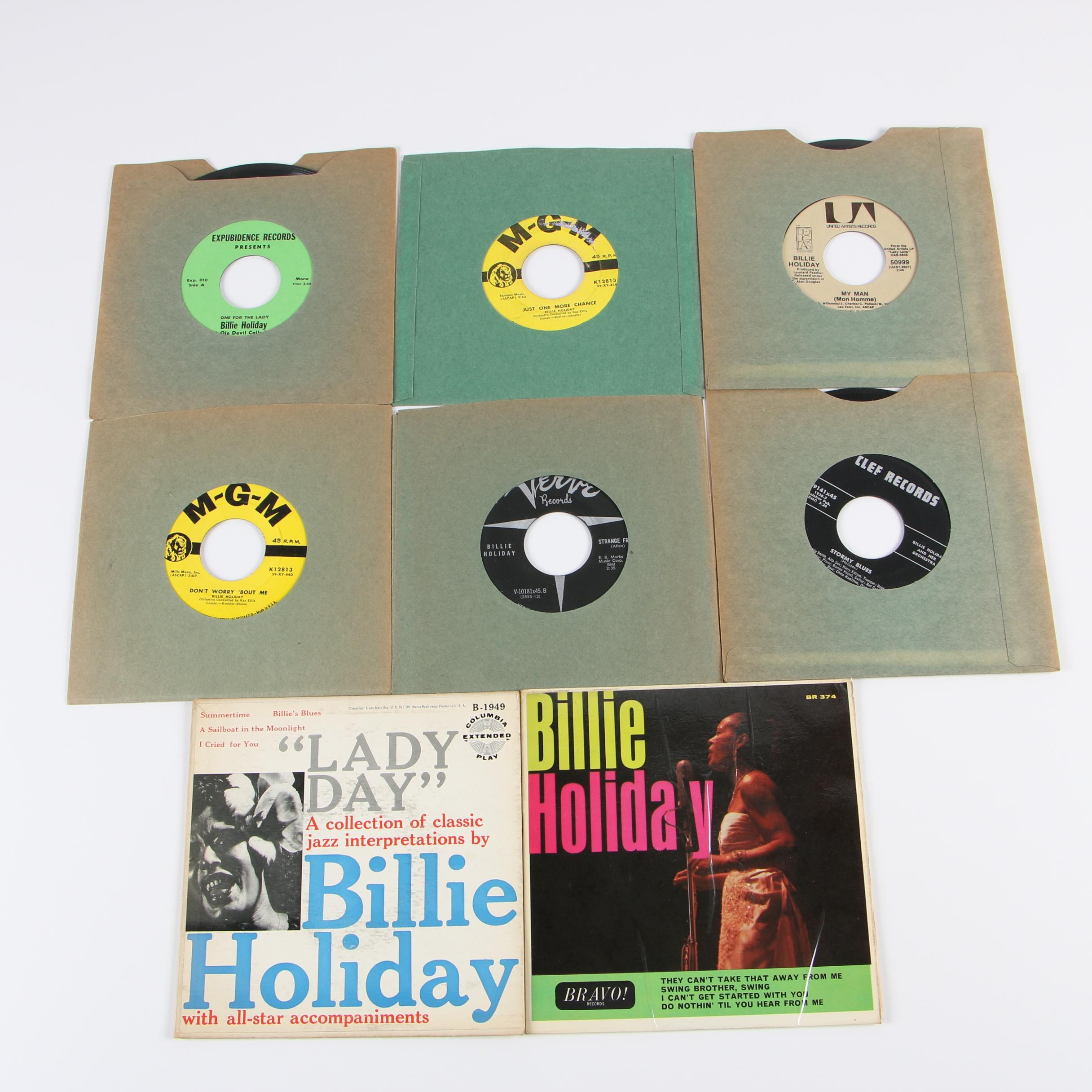 "Billie Holiday 45 RPM Vinyl Records including ""Strange Fruit"" and ""My Man"""