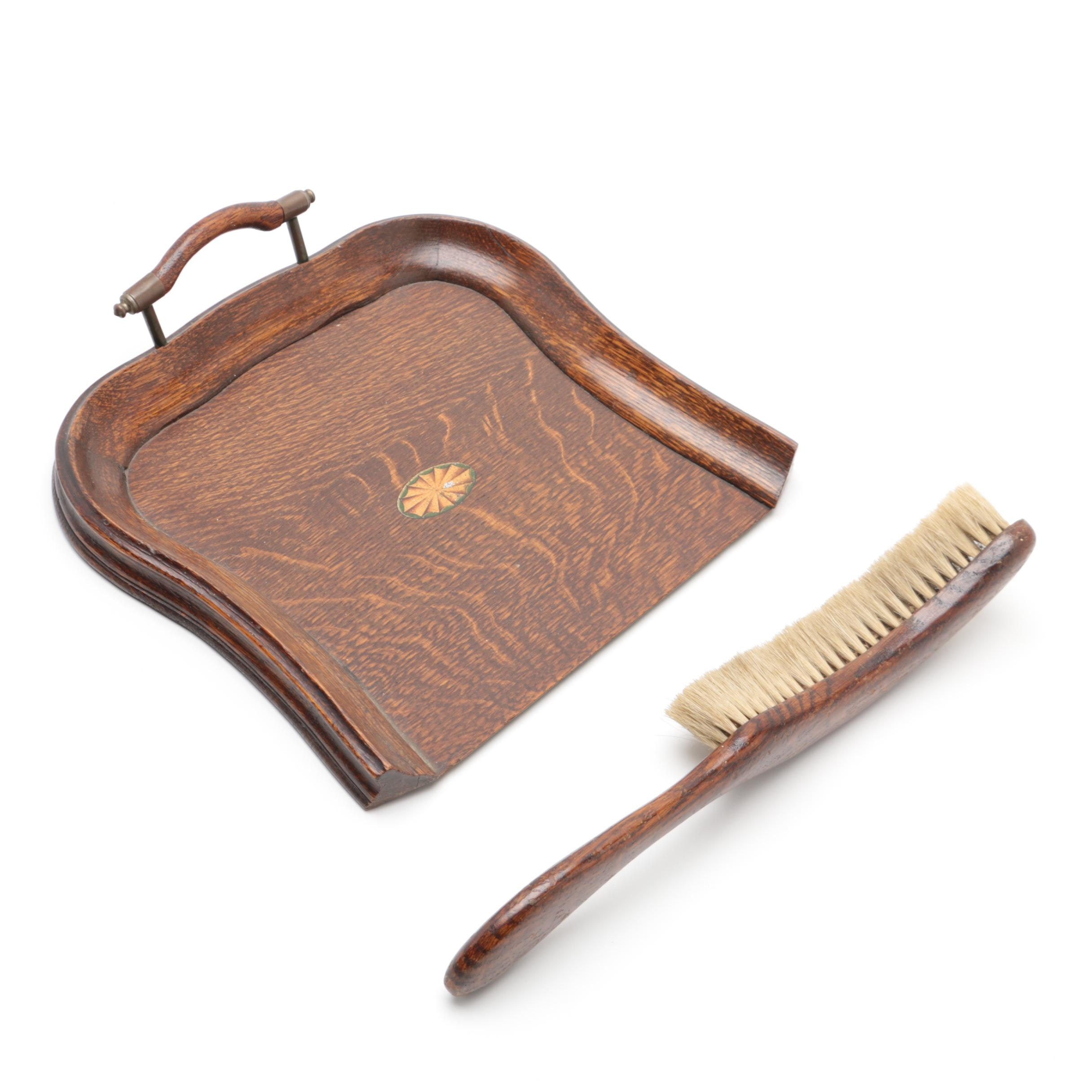 Late Victorian Oak Crumb Tray and Brush, Late 19th/Early 20th Century