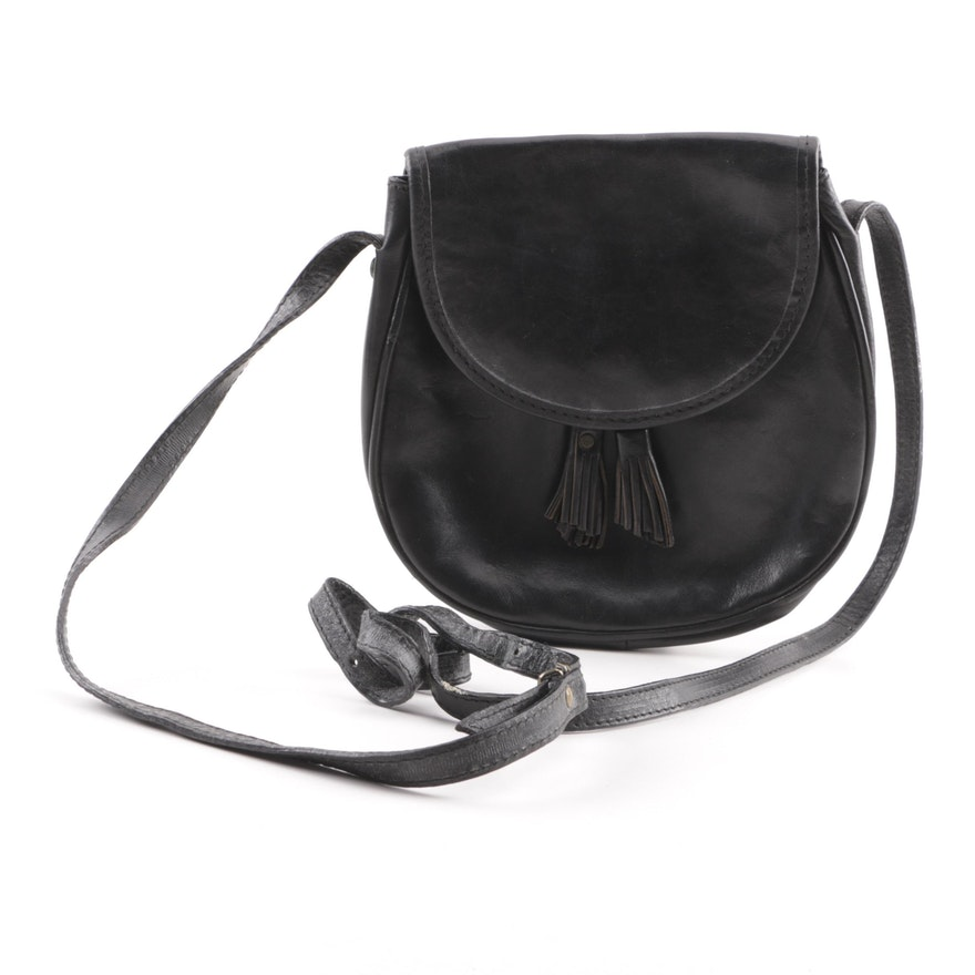 db6eebf662c5 Vintage NEXT Black Leather Crossbody Bag   EBTH