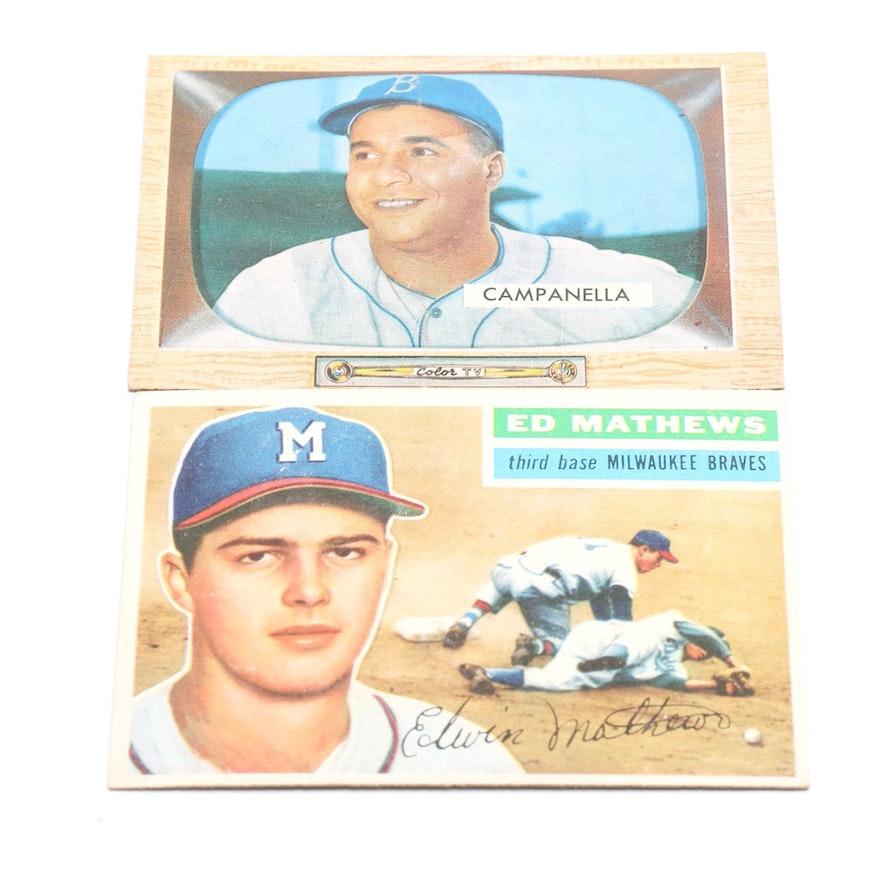 1955 Roy Campanella And 1956 Ed Mathews Baseball Cards
