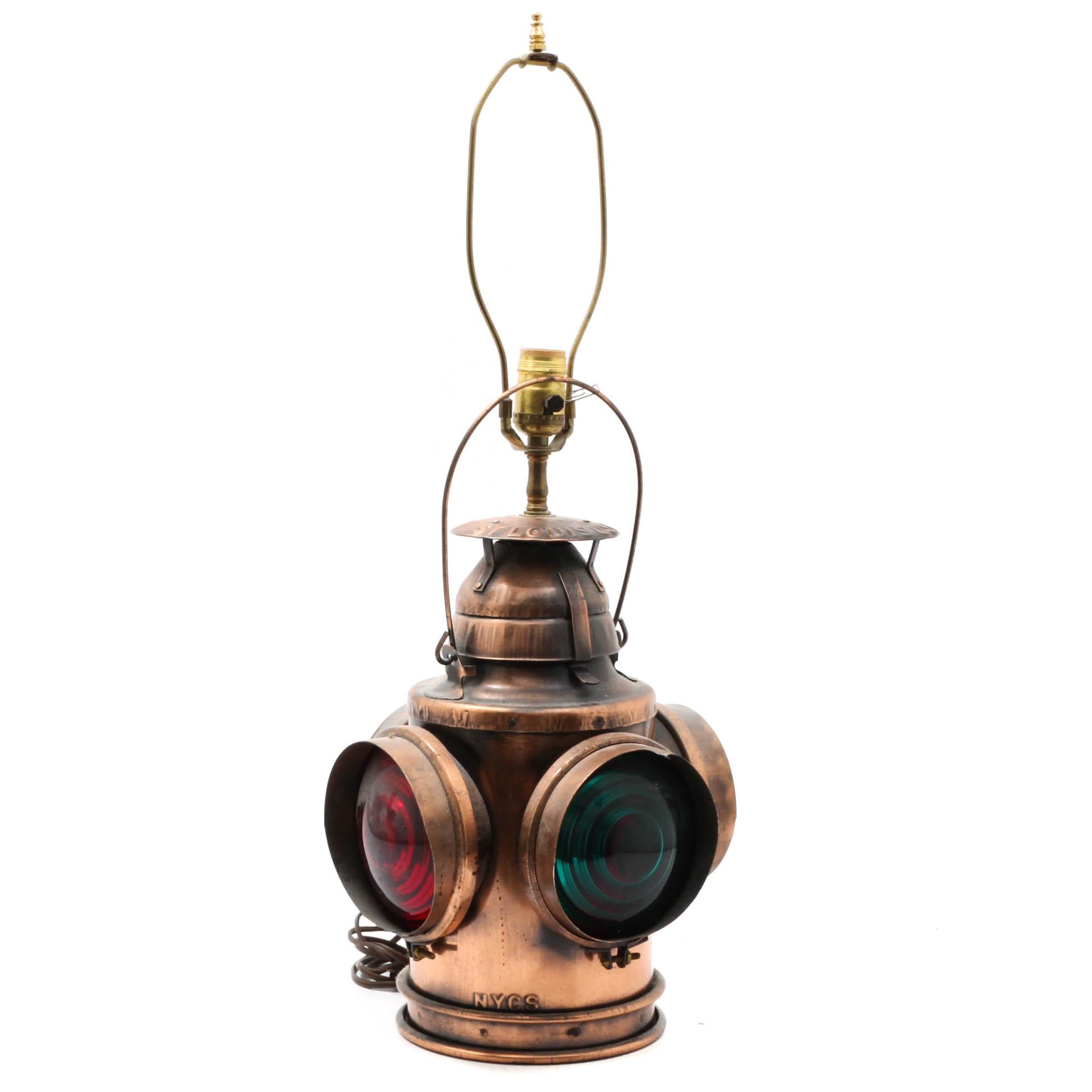Converted Handland NYCS Railroad Lantern Table Lamp