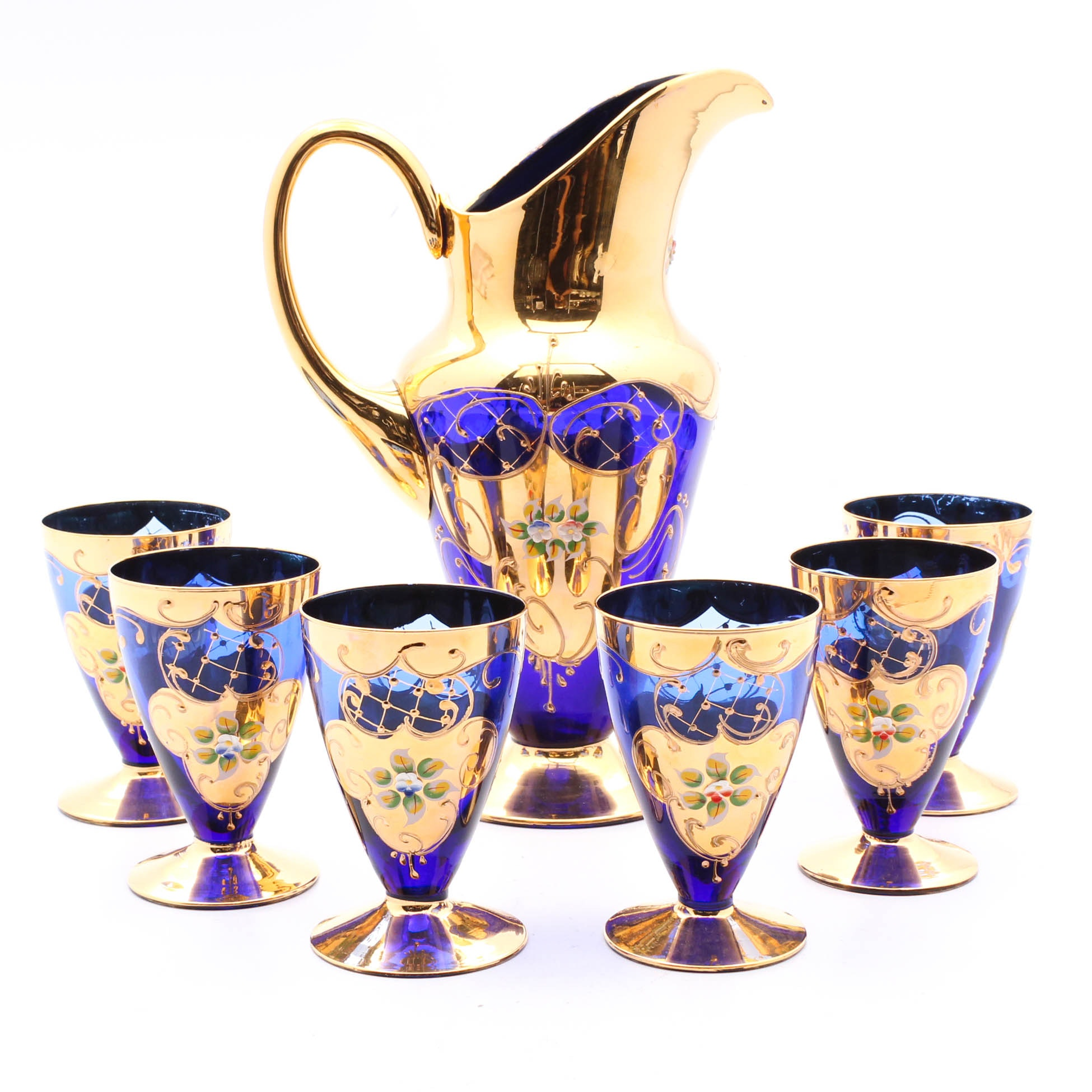Bohemia Glass Cobalt Gilt and Enameled Pitcher and Goblets