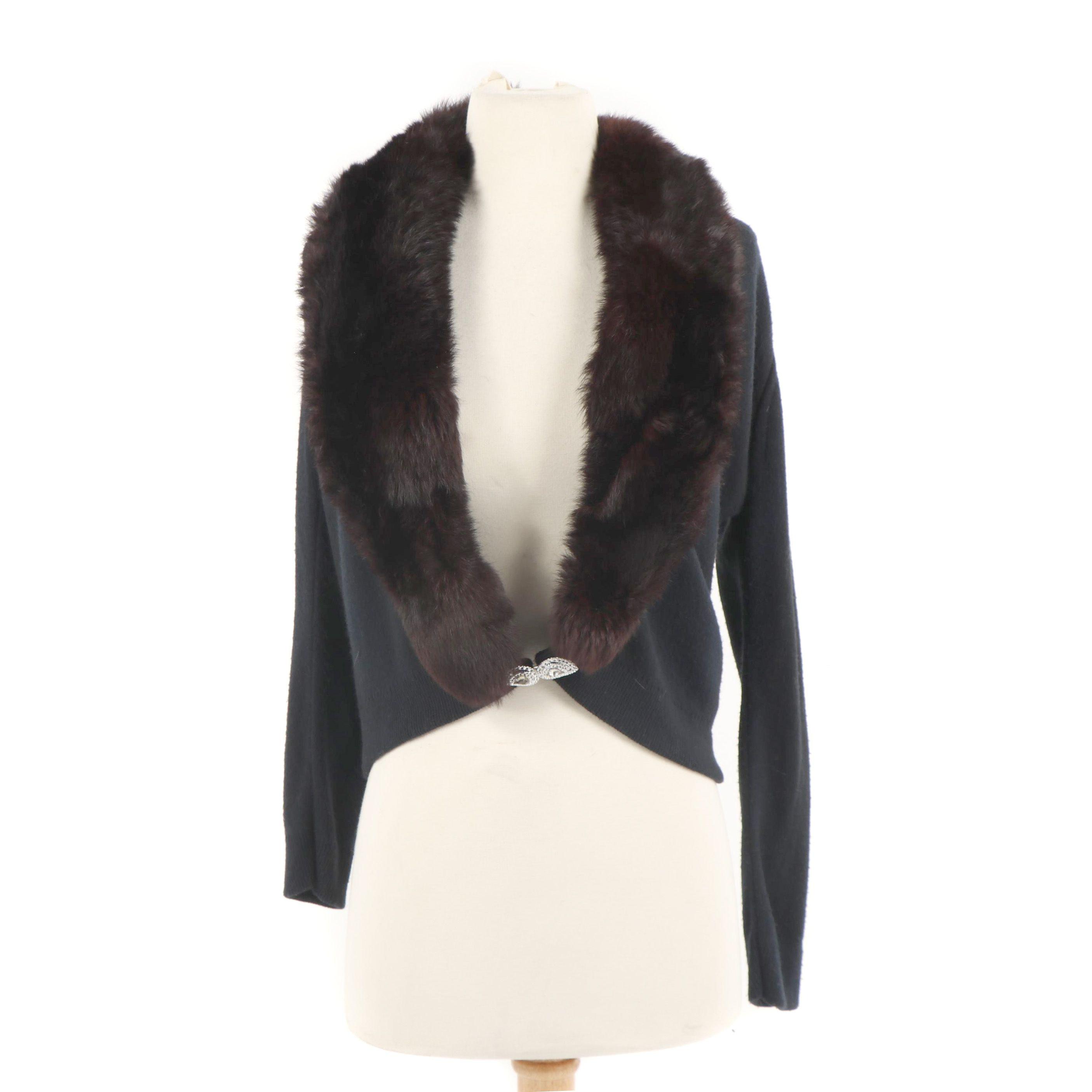 Women's Vintage Lady Carla Black Knit Cardigan with Rabbit Fur Collar
