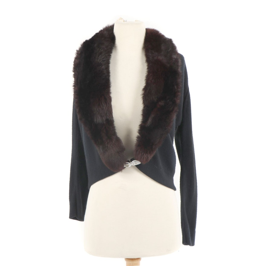 7f3f8c1022723 Women s Vintage Lady Carla Black Knit Cardigan with Rabbit Fur Collar ...