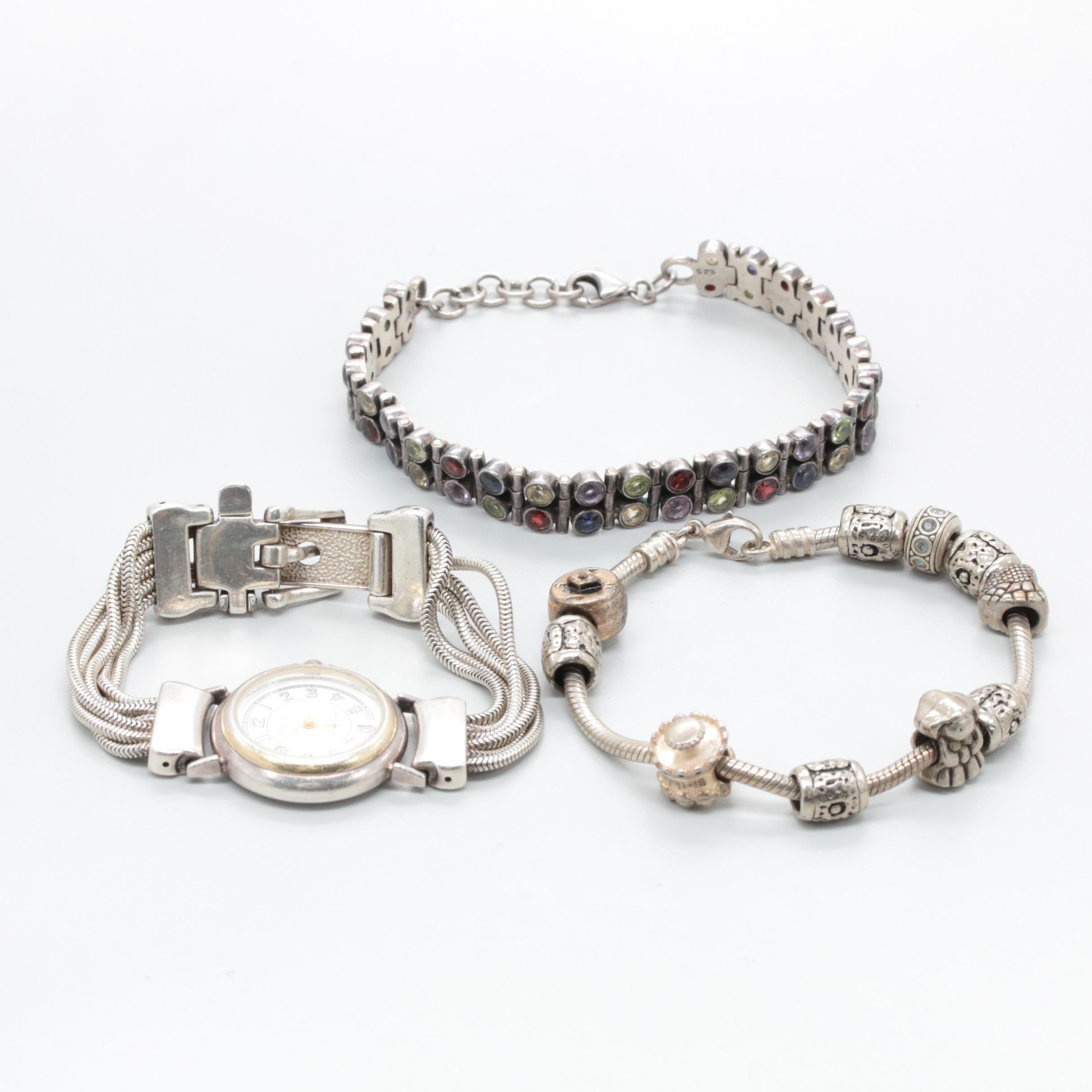 Sterling Silver Watch and Bracelets Including Mixed Gemstones