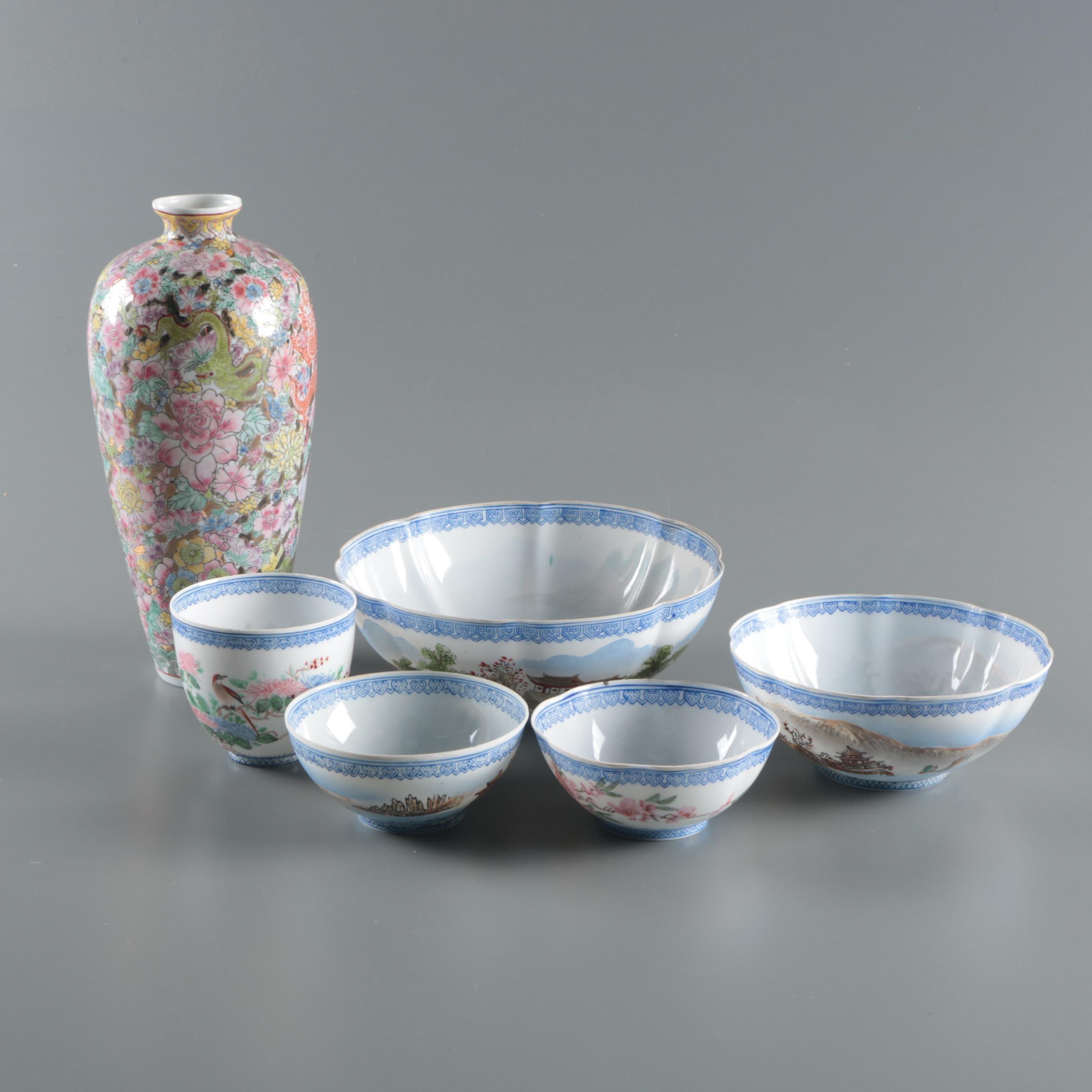 Chinese Export Eggshell Porcelain Serveware and Vase