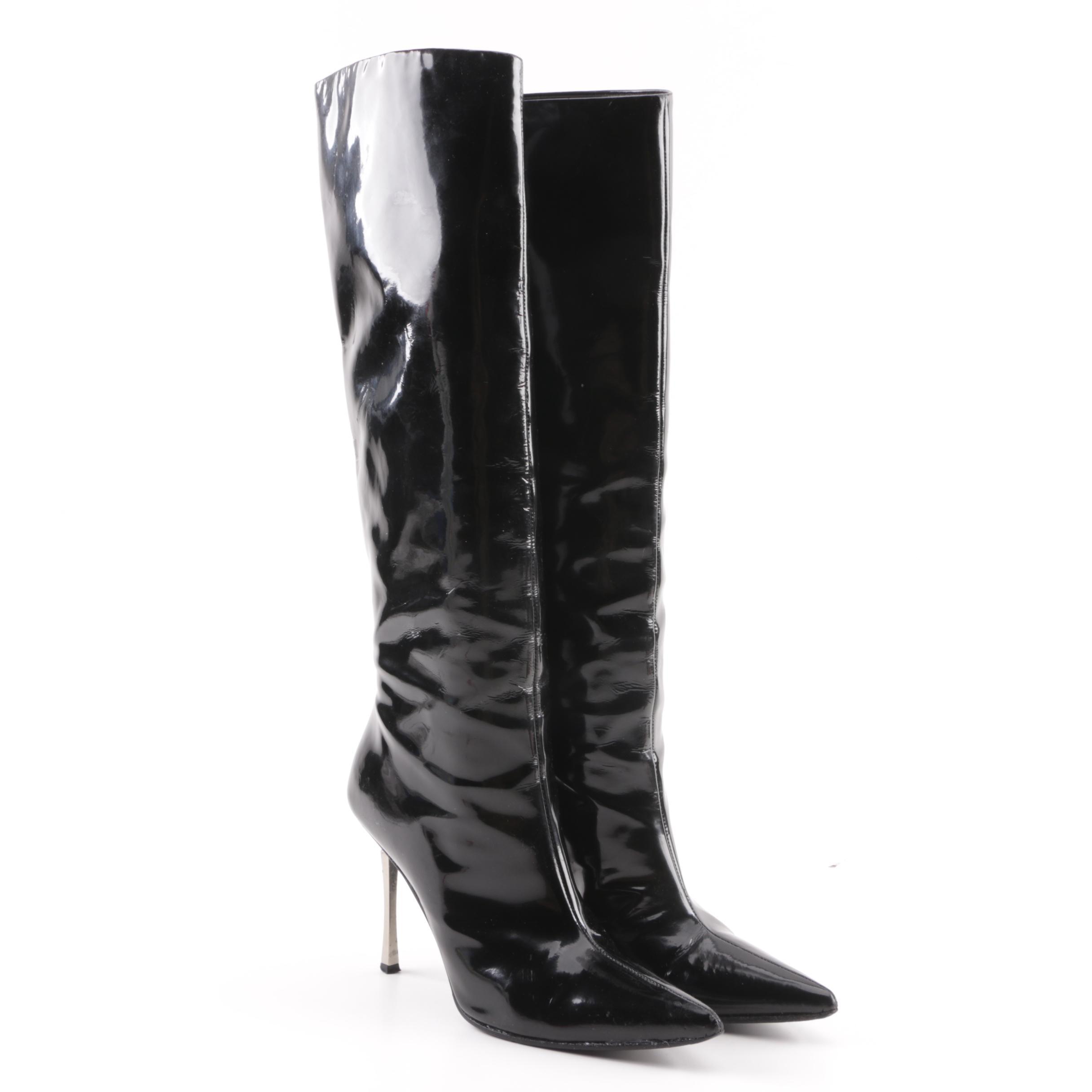 Women's Gucci Black Patent Leather Stiletto Boots