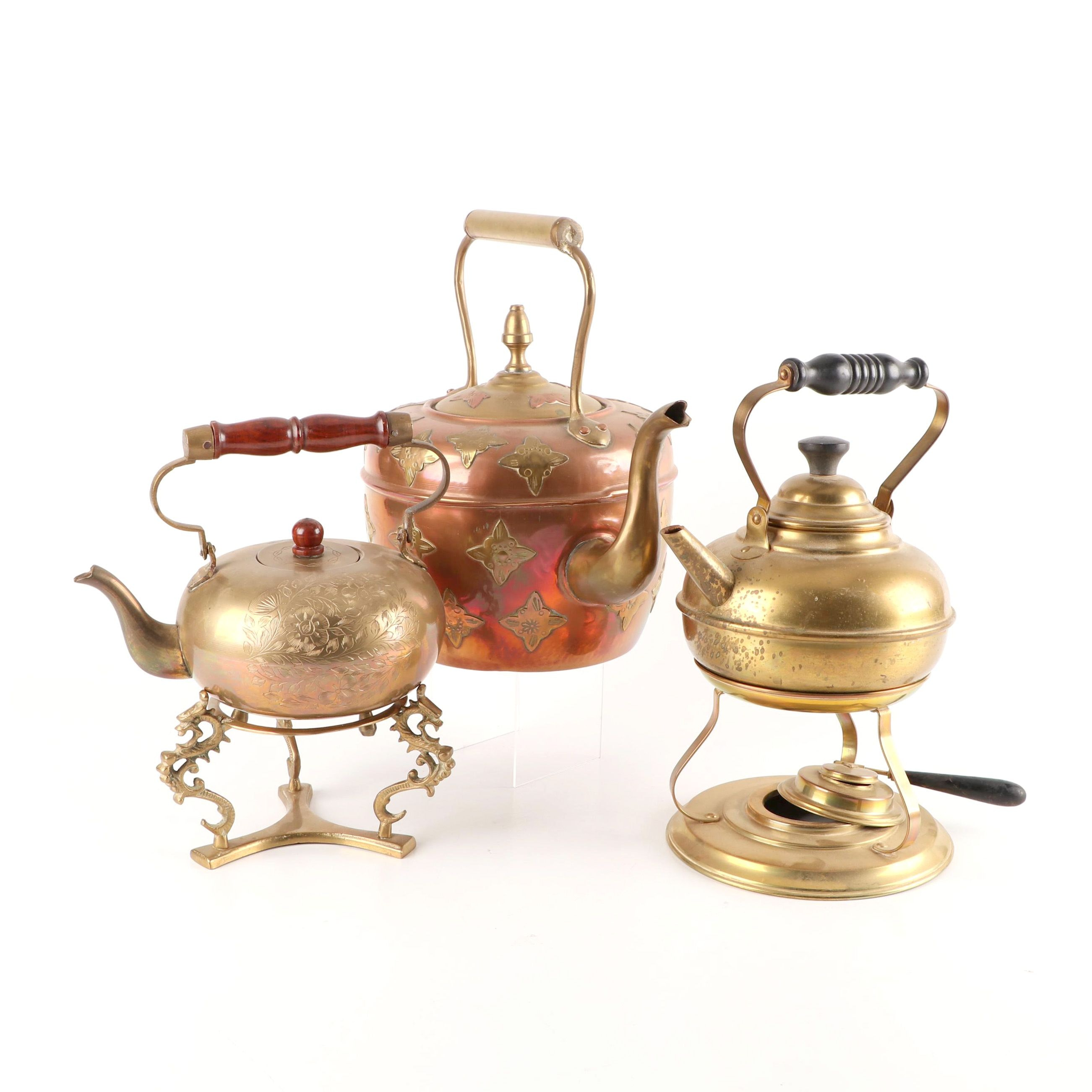 Brass and Copper Teapots with Stands
