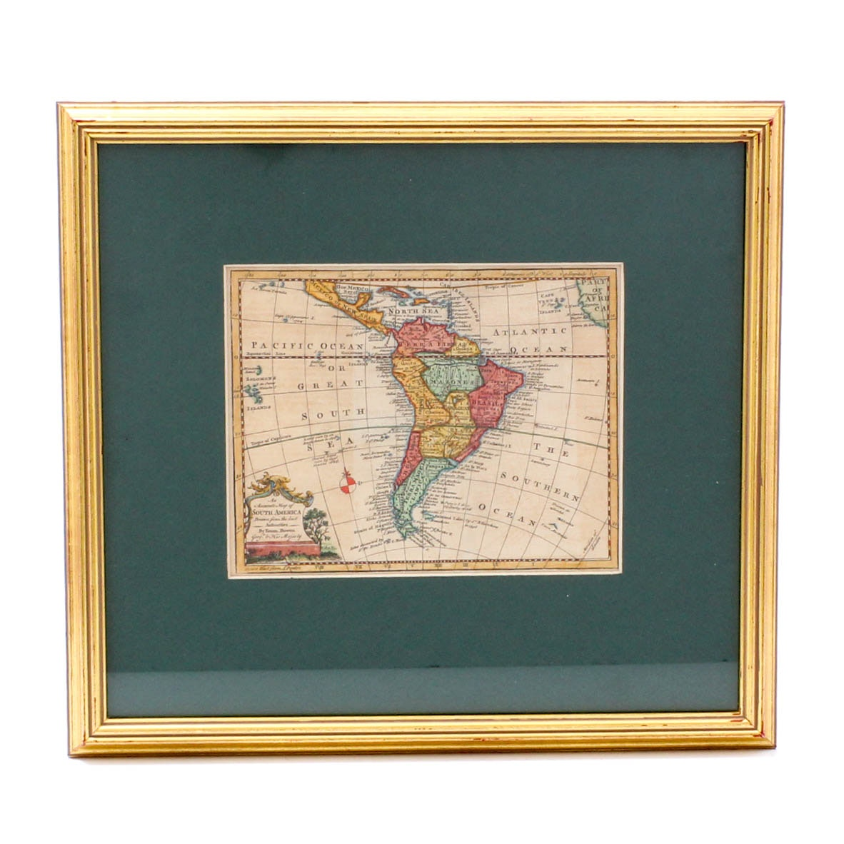 Circa 1750 Hand-Colored Engraving of South America by Emanuel Bowen