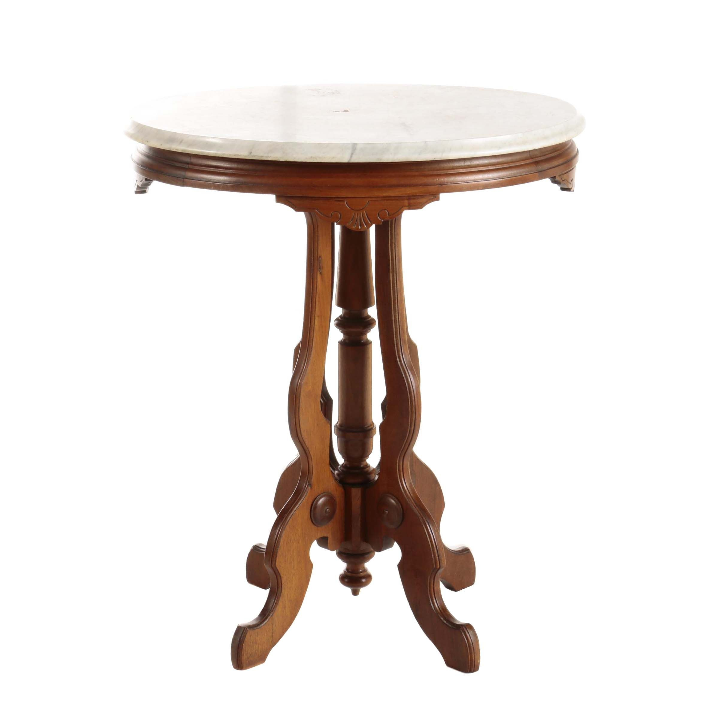 Eastlake Incised Walnut and Marble Top Side Table, Late 19th Century
