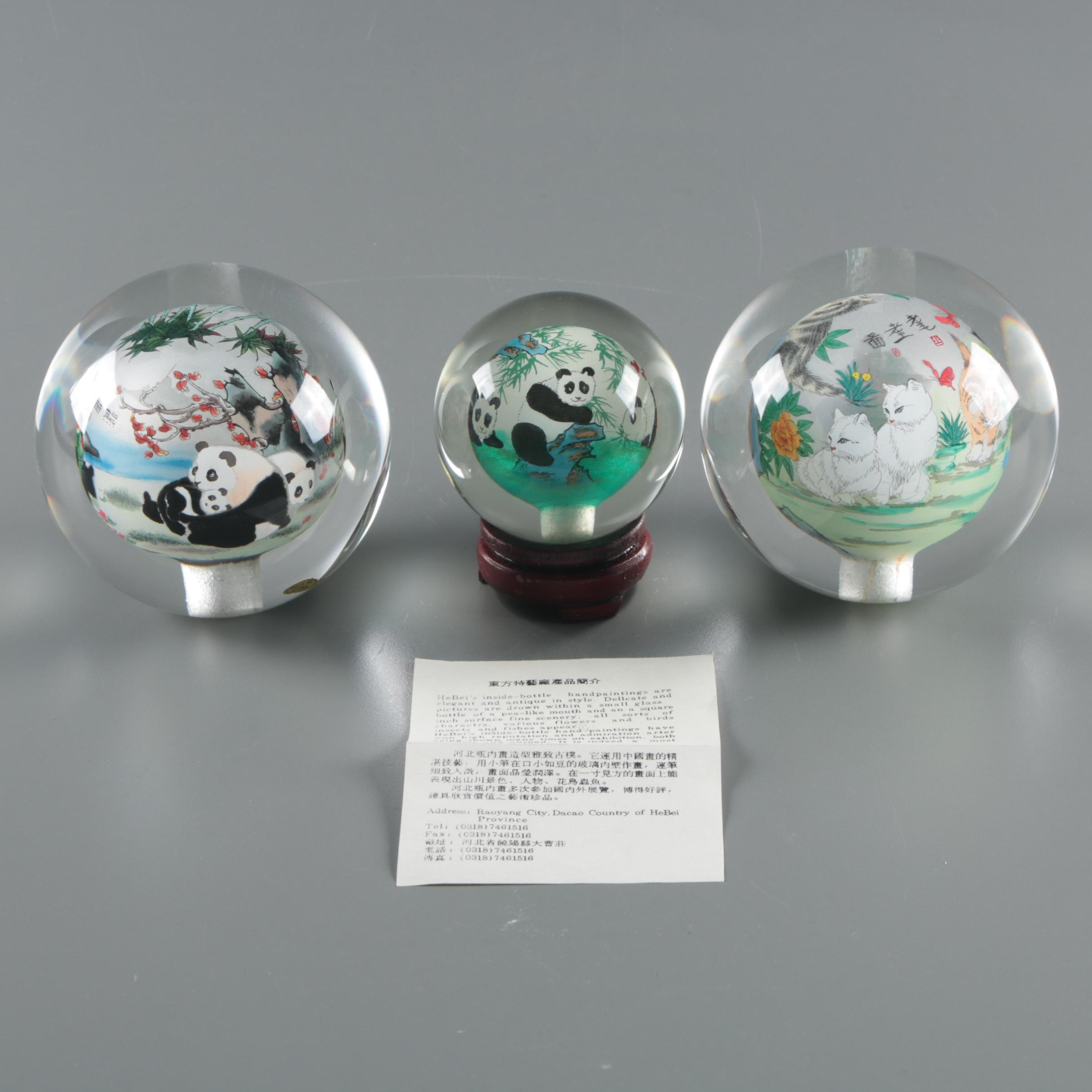 Hand-Painted Chinese Glass Orbs from Hebei Province