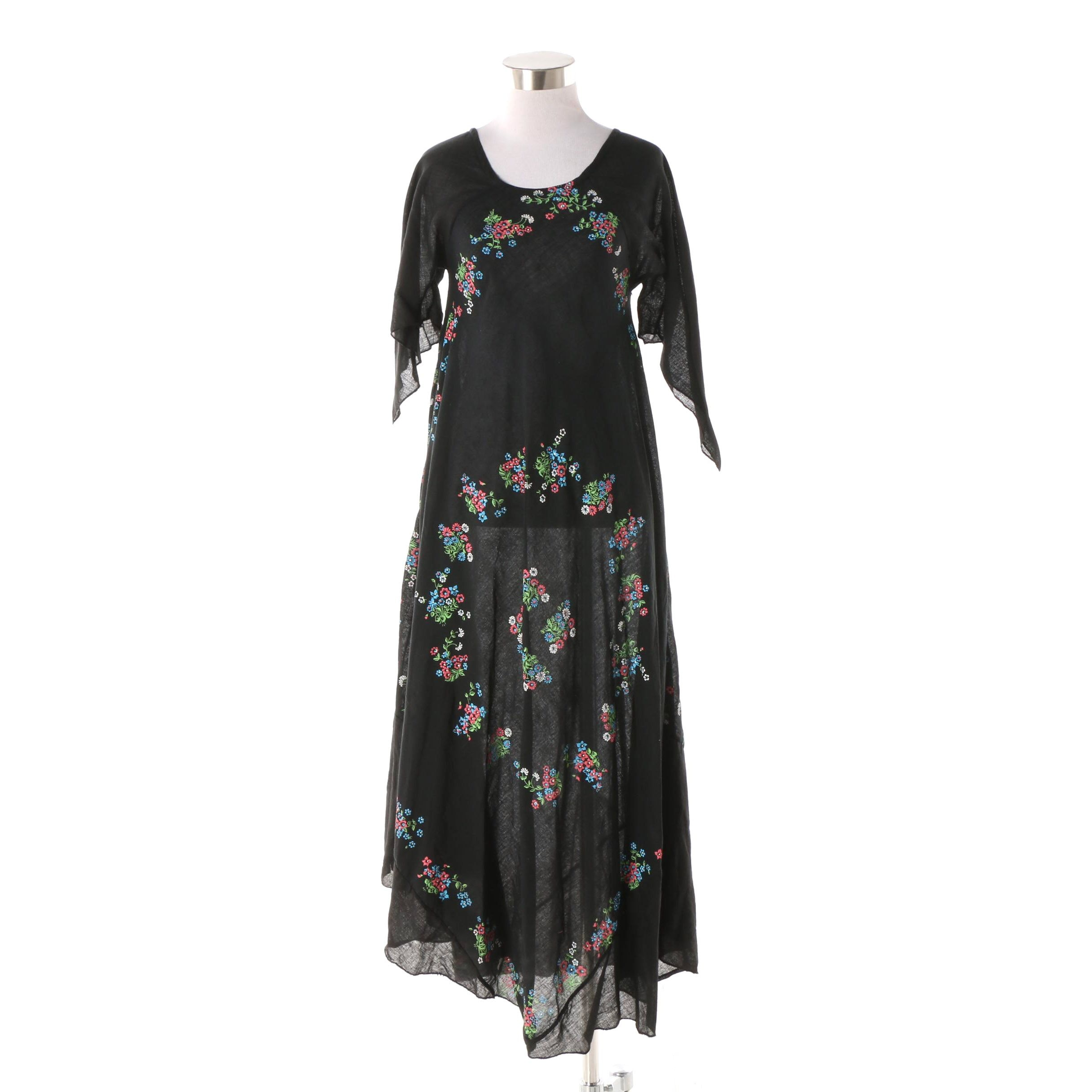 Women's Vintage Black Cotton Gauze Stencil Print Trapeze Dress