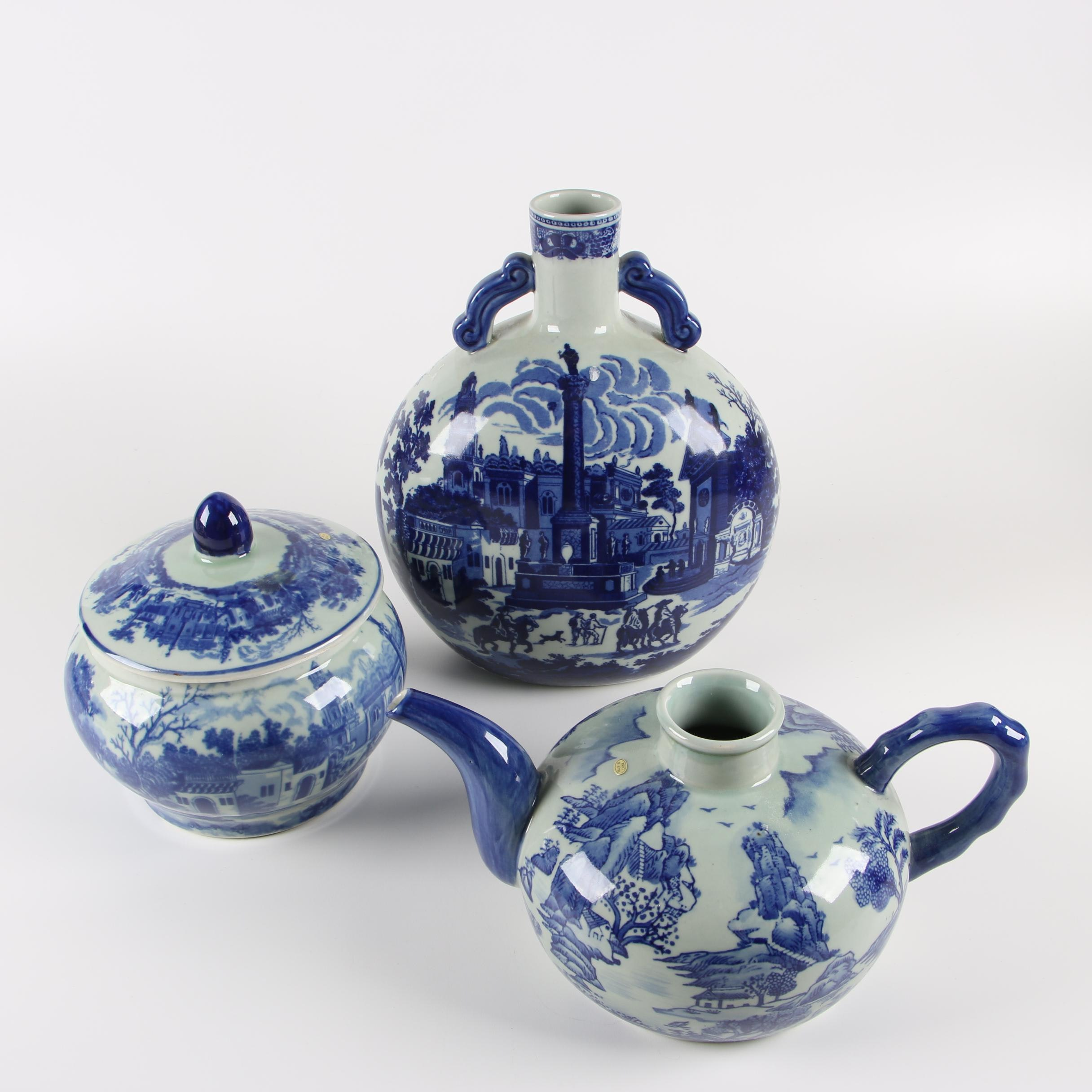 Chinese Victoria Ware Ironstone Bottle Vase and Jar with Teapot