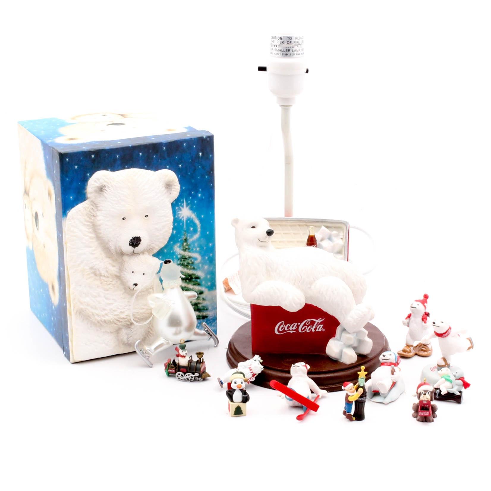 Coca Cola Polar Bear Themed Desk Lamp and Collectibles