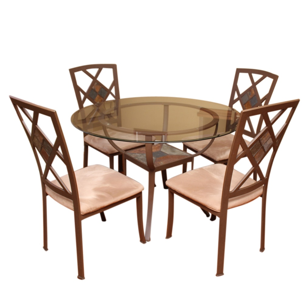 Contemporary Glass and Metal Dining Table Set