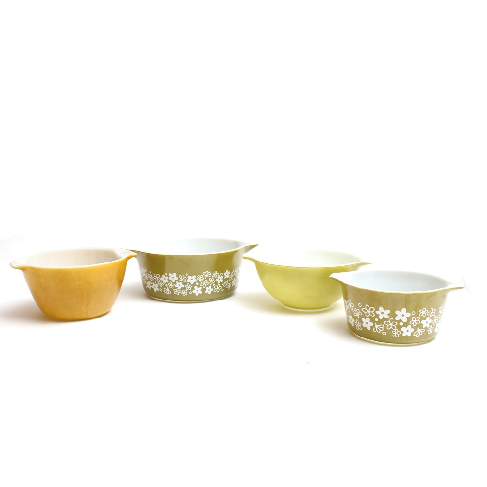 """Vintage Fire-King and Pyrex Glass Mixing Bowls featuring """"Spring Blossom Green"""""""