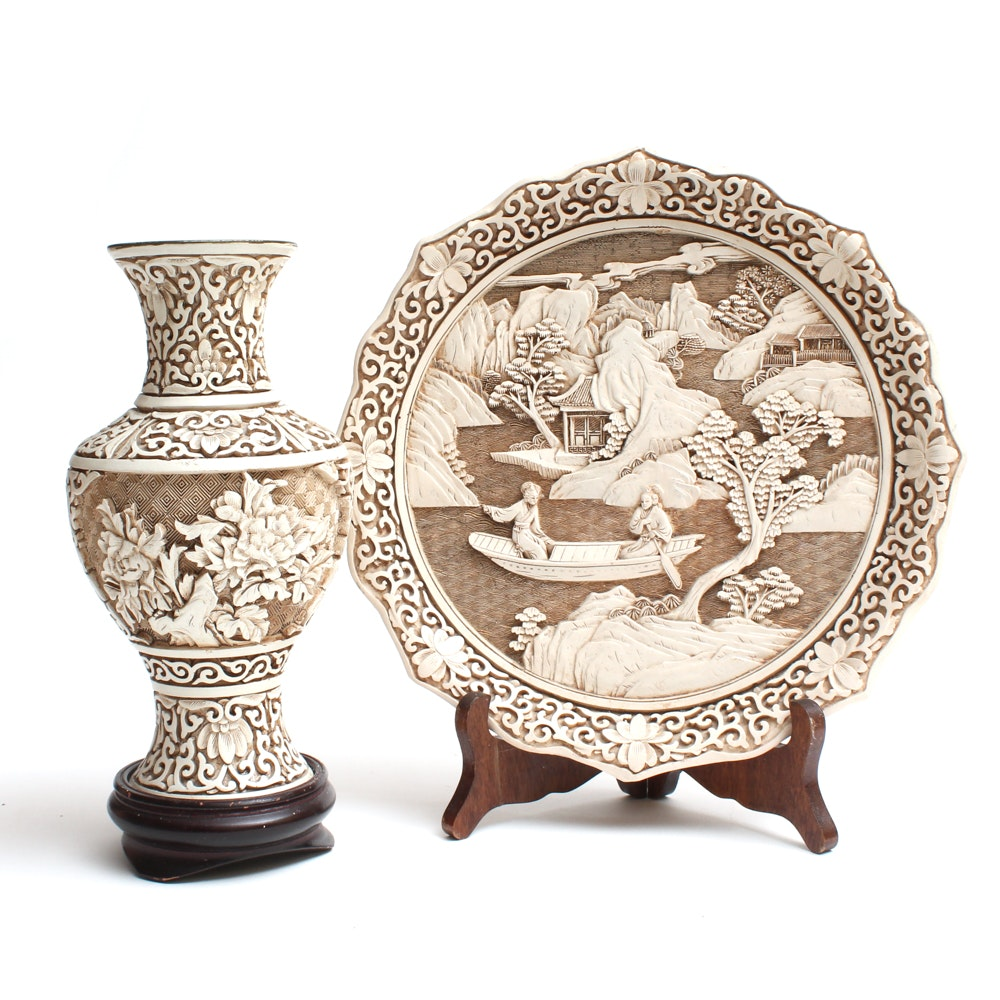 """Chinese Arnart """"Ivory Dynasty"""" Plate and Vase"""