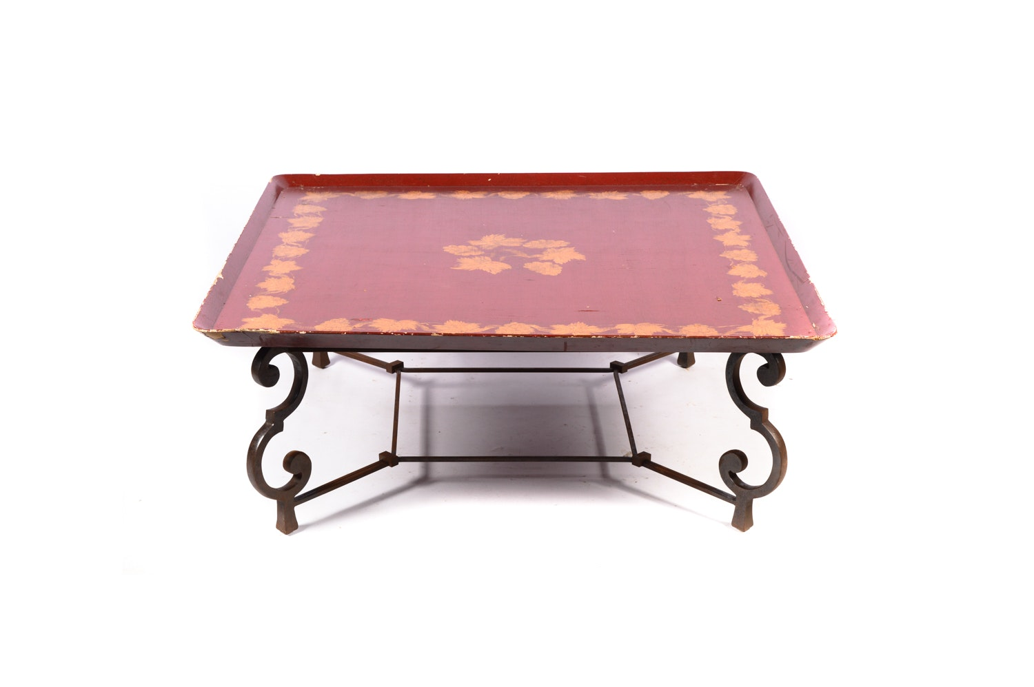 Painted Tray Top Wood and Metal Coffee Table, 20th Century
