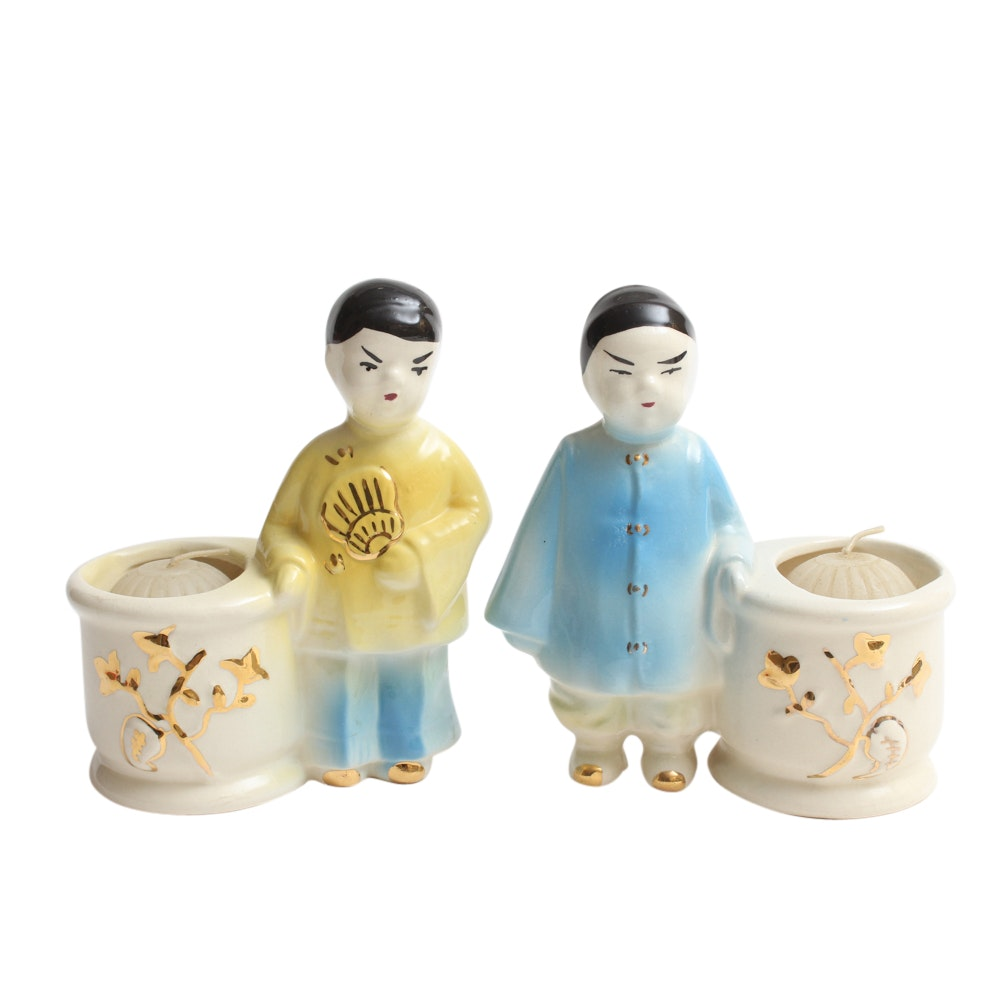 Mid Century Chinese Figural Ceramic Candleholders