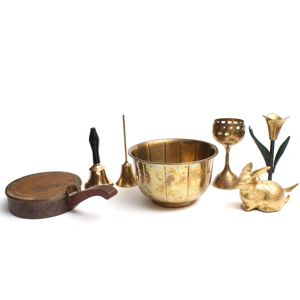 Terra Inc. Indian Solid Brass Bowl with Brass Candleholders and Other Decor