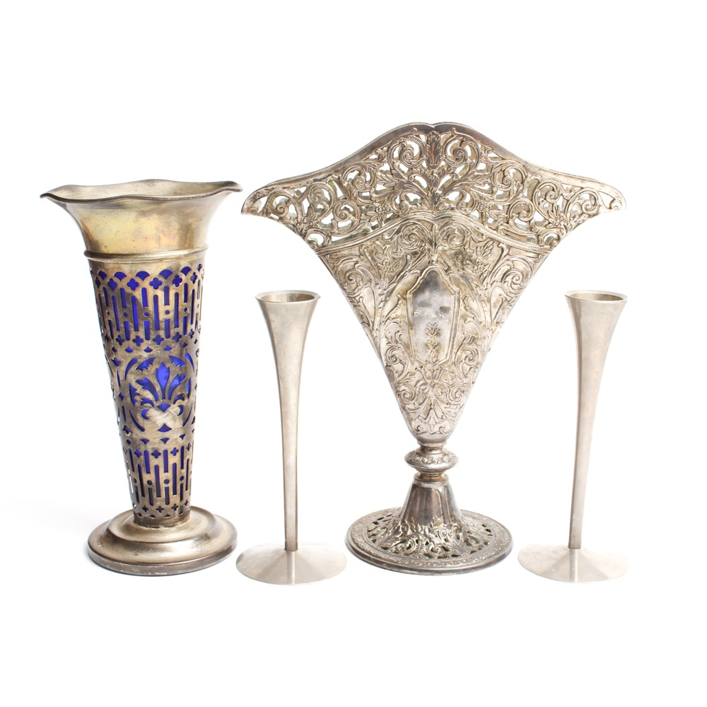 Godinger Silver Art Co. Vases with German Silver Plate Candlesticks