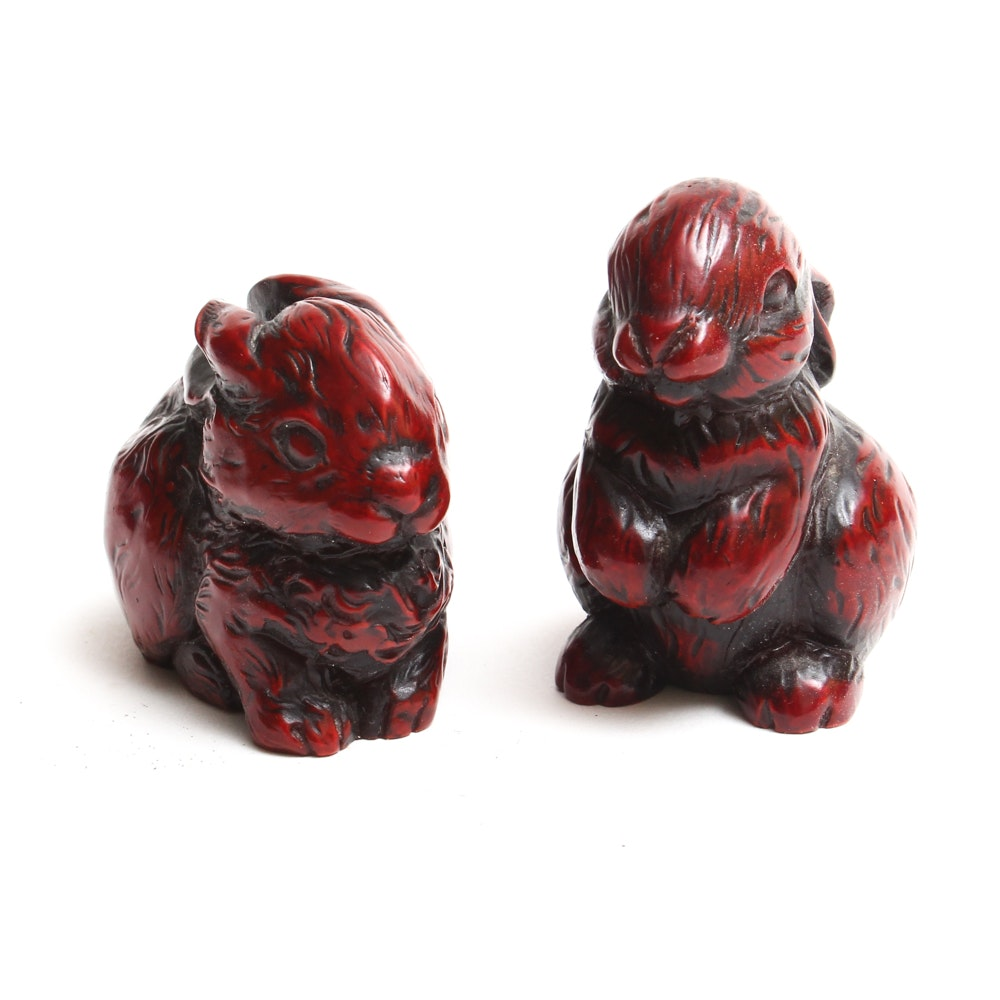 Chinese Zodiac Red Resin Rabbit Figurines