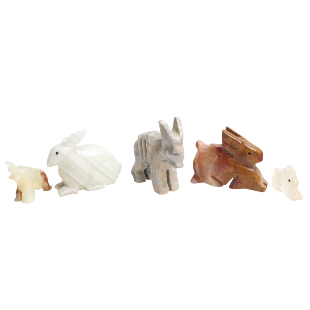 Carved Agate and Other Stone Animal Figurines