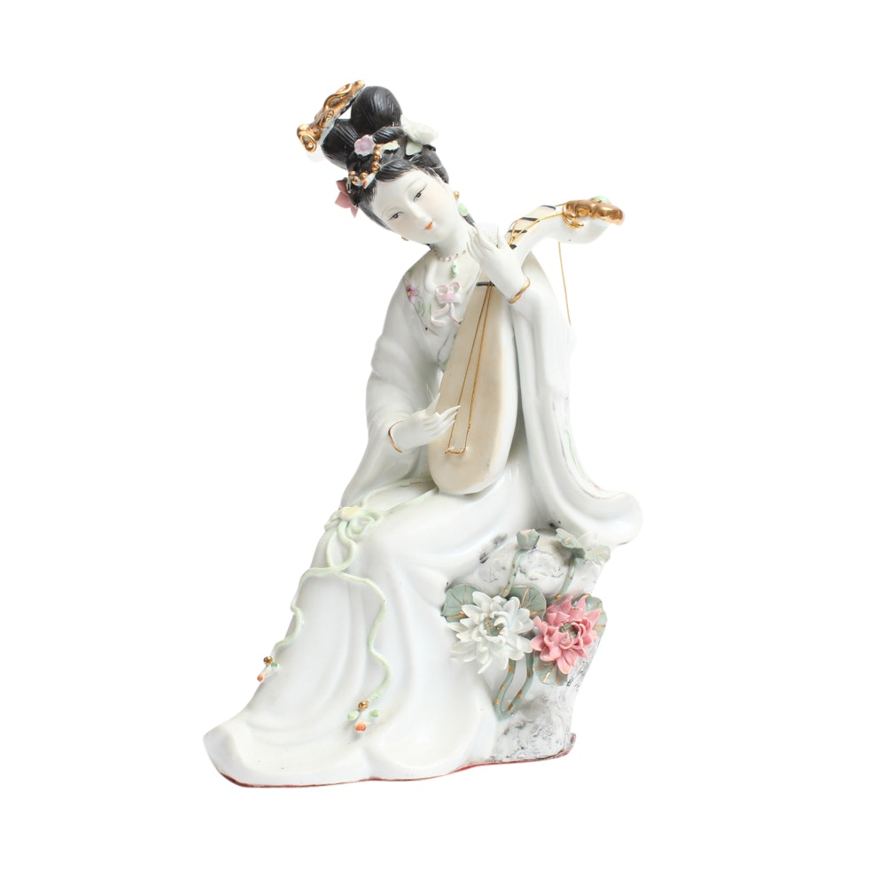 Chinese Porcelain Figurine of Lady Playing Pipa