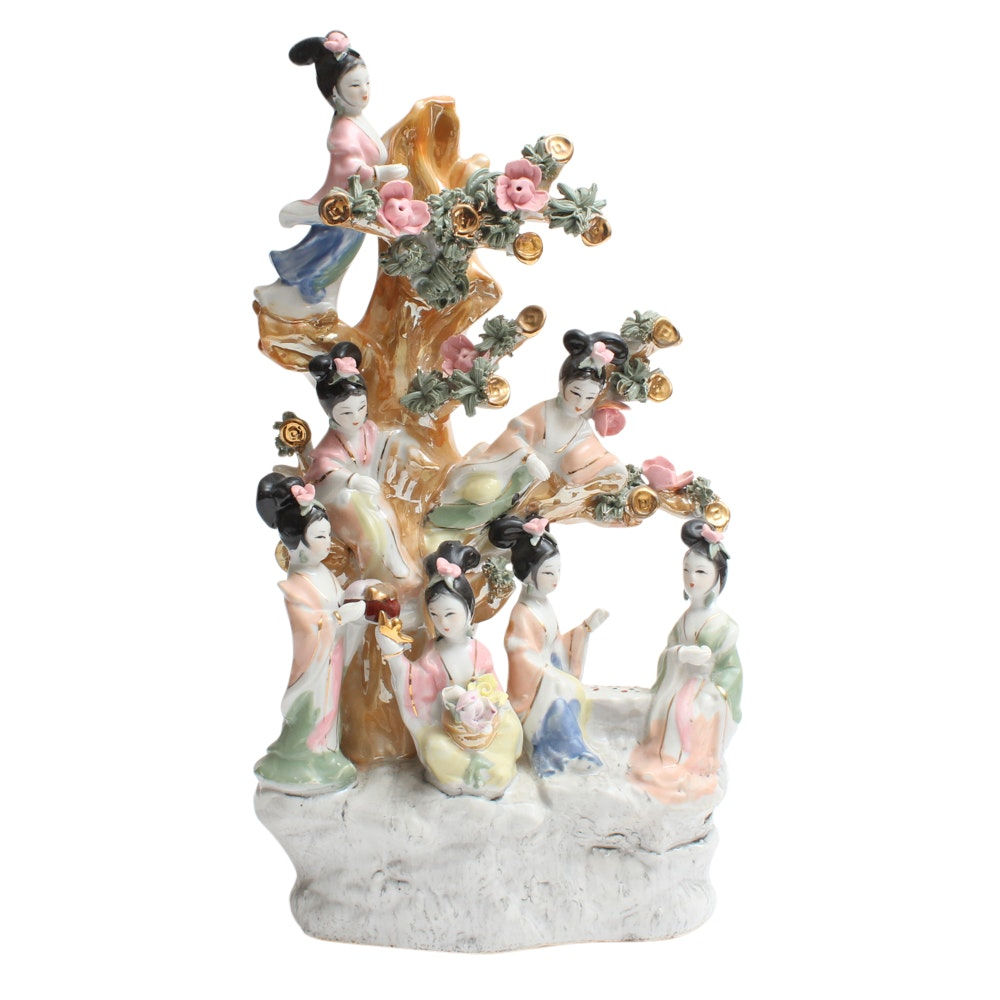 Chinese Hand-Painted Porcelain Figurine of Women in a Flowering Tree