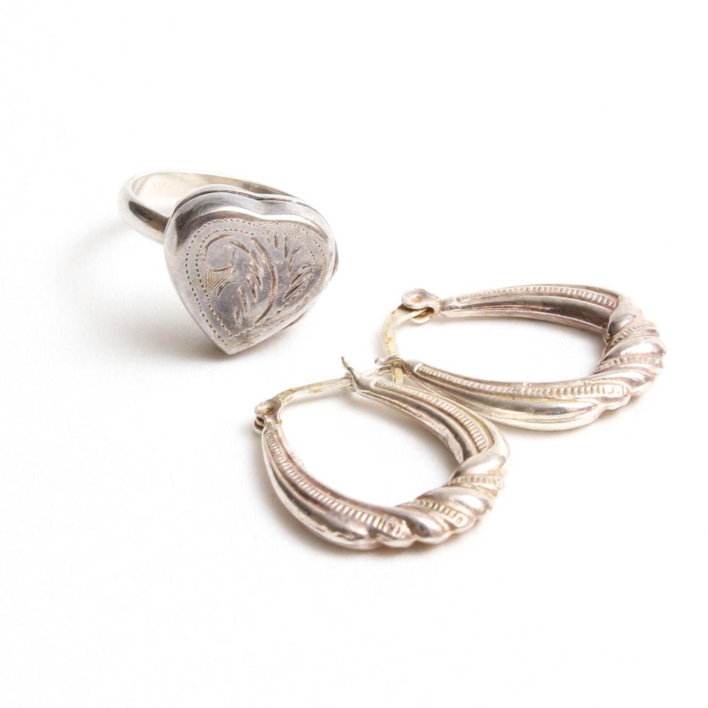 Sterling Silver Locket Ring and Hoop Earrings