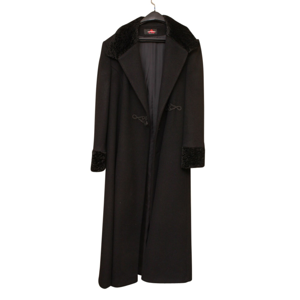 Women's Alorna Black Wool Coat Trimmed in Faux Fur