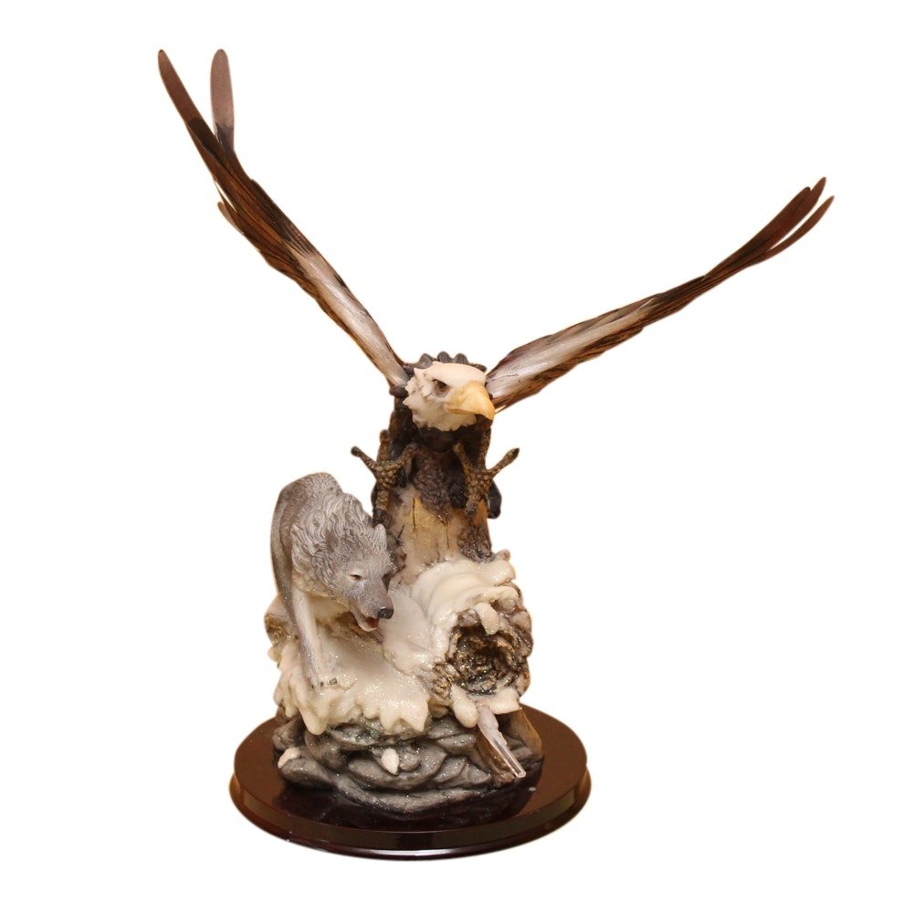 Wolf and Eagle Hand-Painted Ceramic Figurine