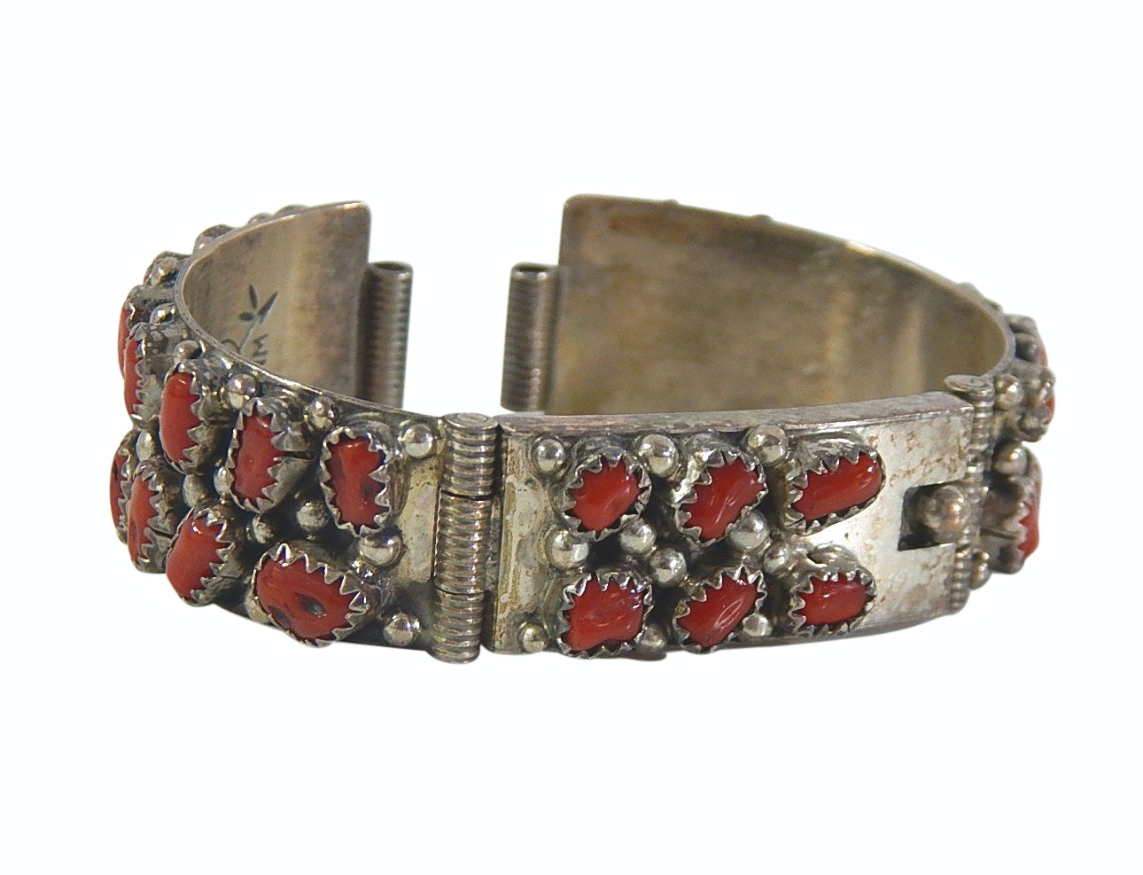 Wilford Nez Navajo Diné Sterling Silver Red Coral Watch Band