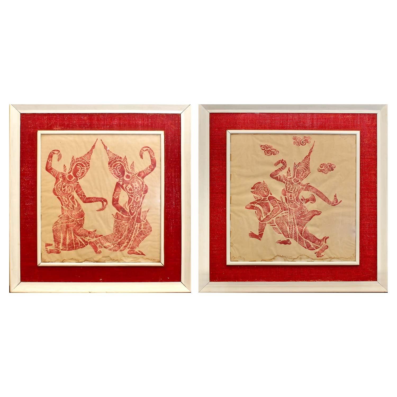Vintage Thai Rubbings of Dancers