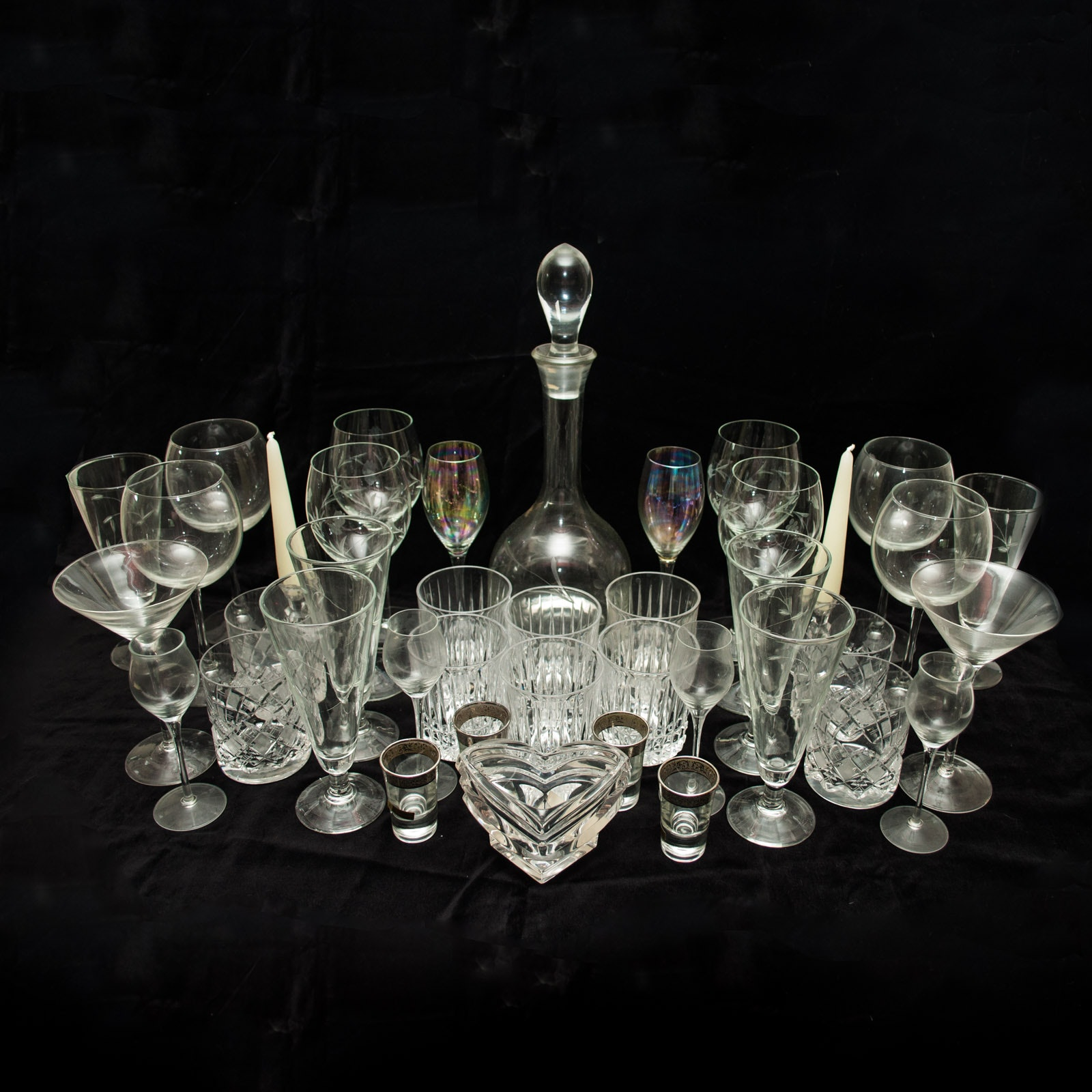 Crystal and Glass Stemware and Barware including Towle and Mikasa