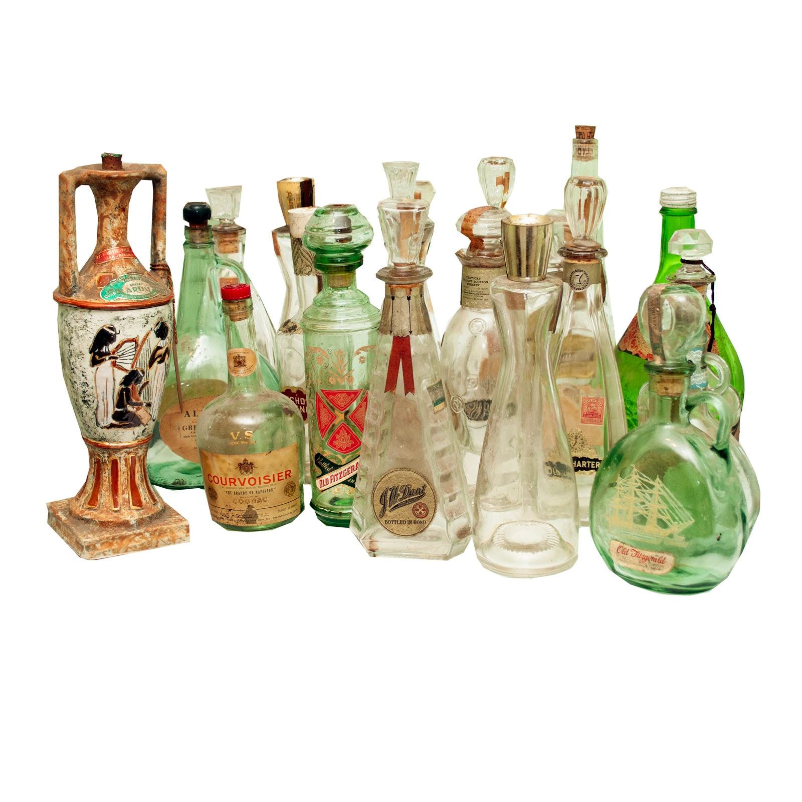 Twenty Vintage Liquor Bottles Including Ardo Egyptian Bottle #91