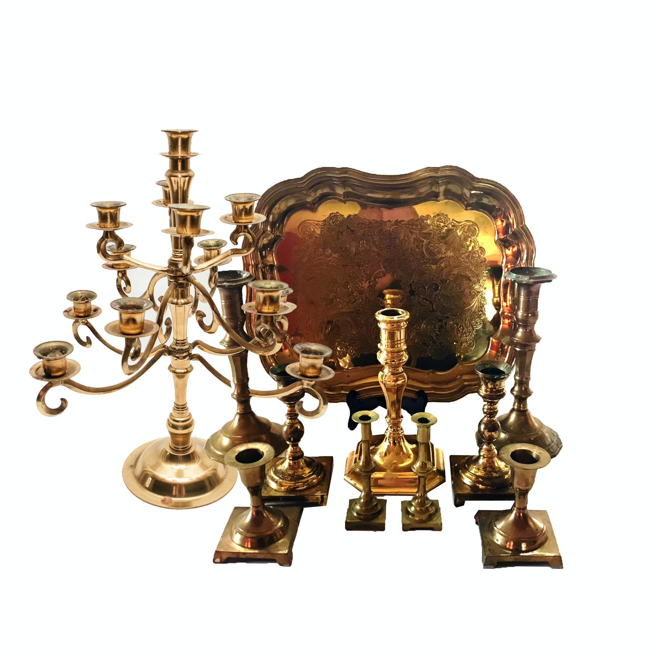 Brass Candlesticks and Candelabra with Serving Tray Including Baldwin