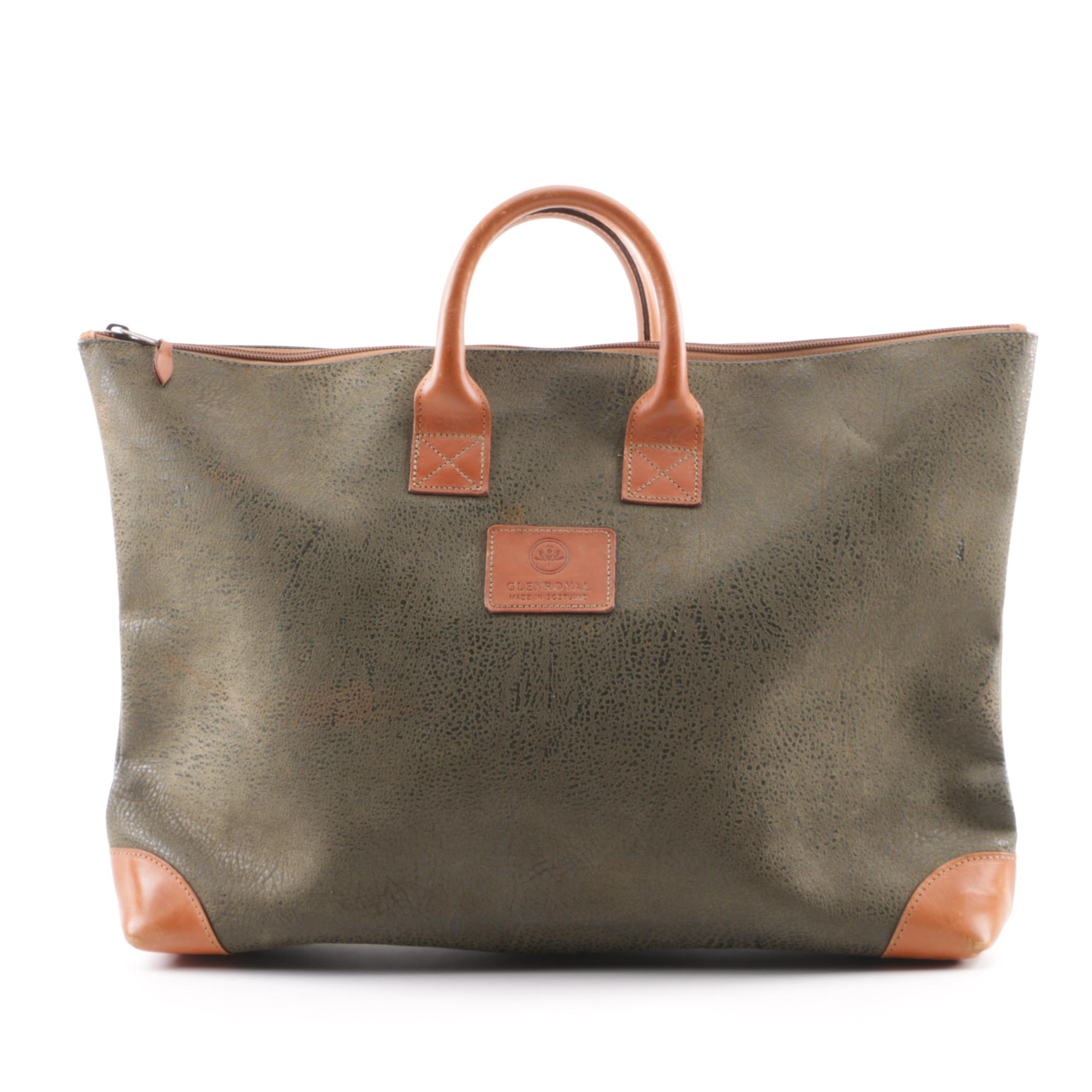 Glenroyal Scottish Made Leather Tote Bag with Plaid Lining