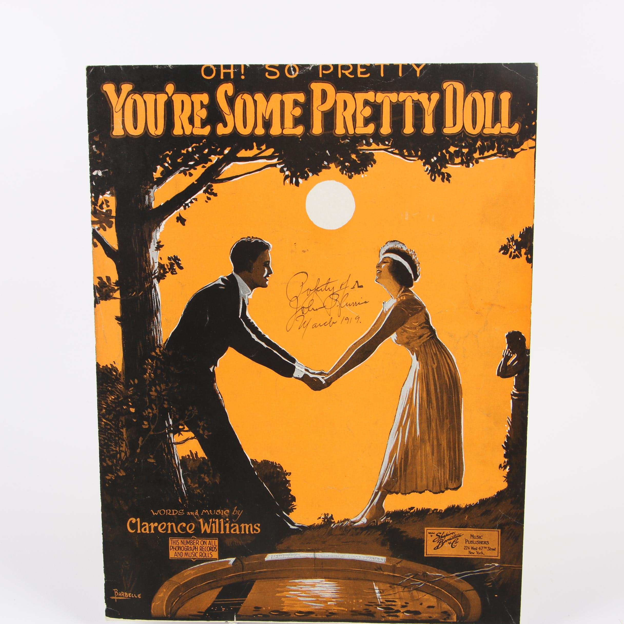 "1917 ""You're Some Pretty Doll"" by Clarence Williams Sheet Music"