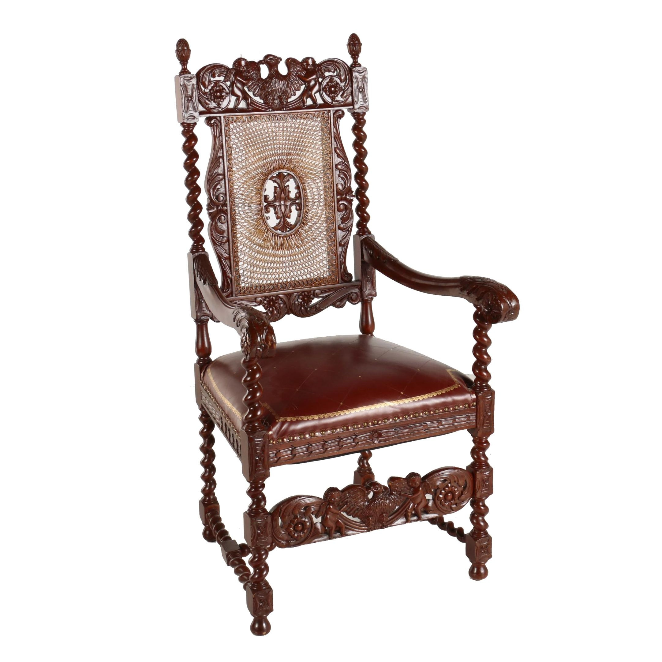 Jacobean Revival Walnut-Stained Armchair, 20th Century